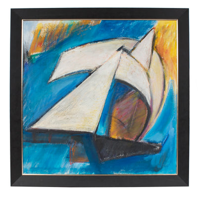 <i>White Sails</i><br>Mid Century Acrylic & Chalk<br><br>#96414