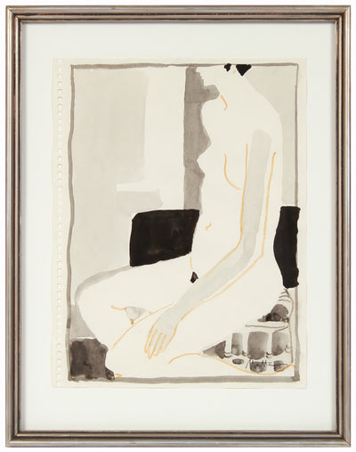 Seated Female Nude Studio Drawing <br>20th Century Mixed Media <br><br>#96675