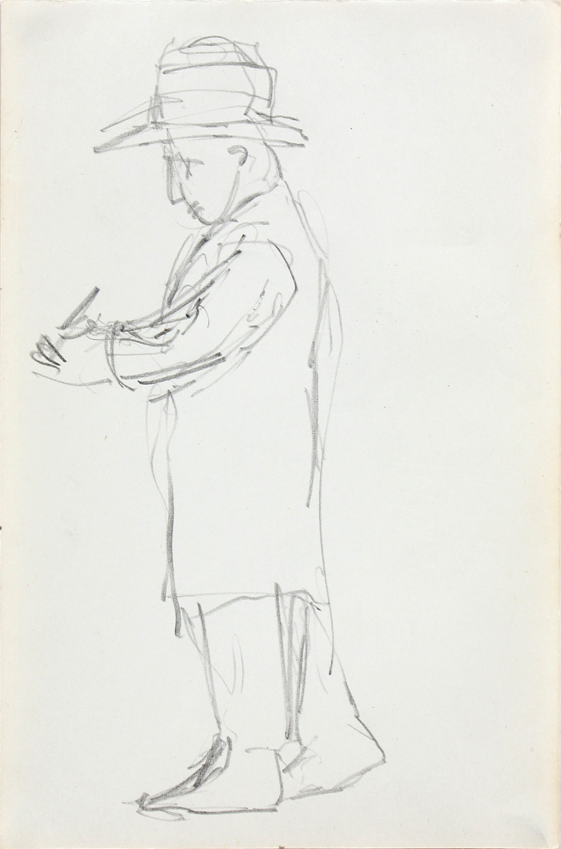 Mid Century Man in Trench Coat & Hat <br>1963 Graphite <br><br>#96735