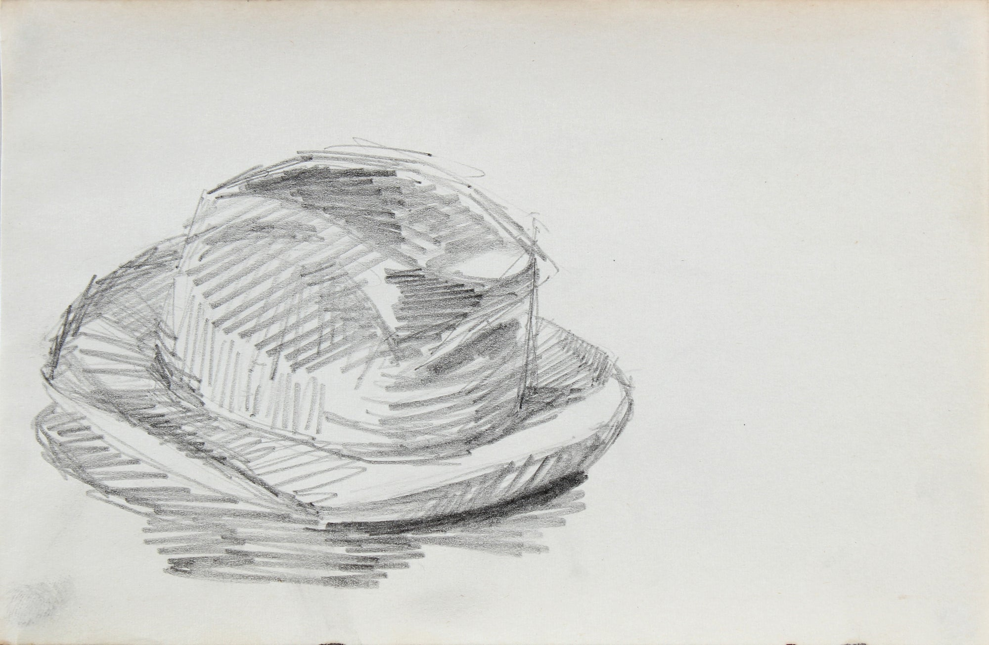 Vintage Monochrome Hat Sketch <br>1963 Graphite <br><br>#96742