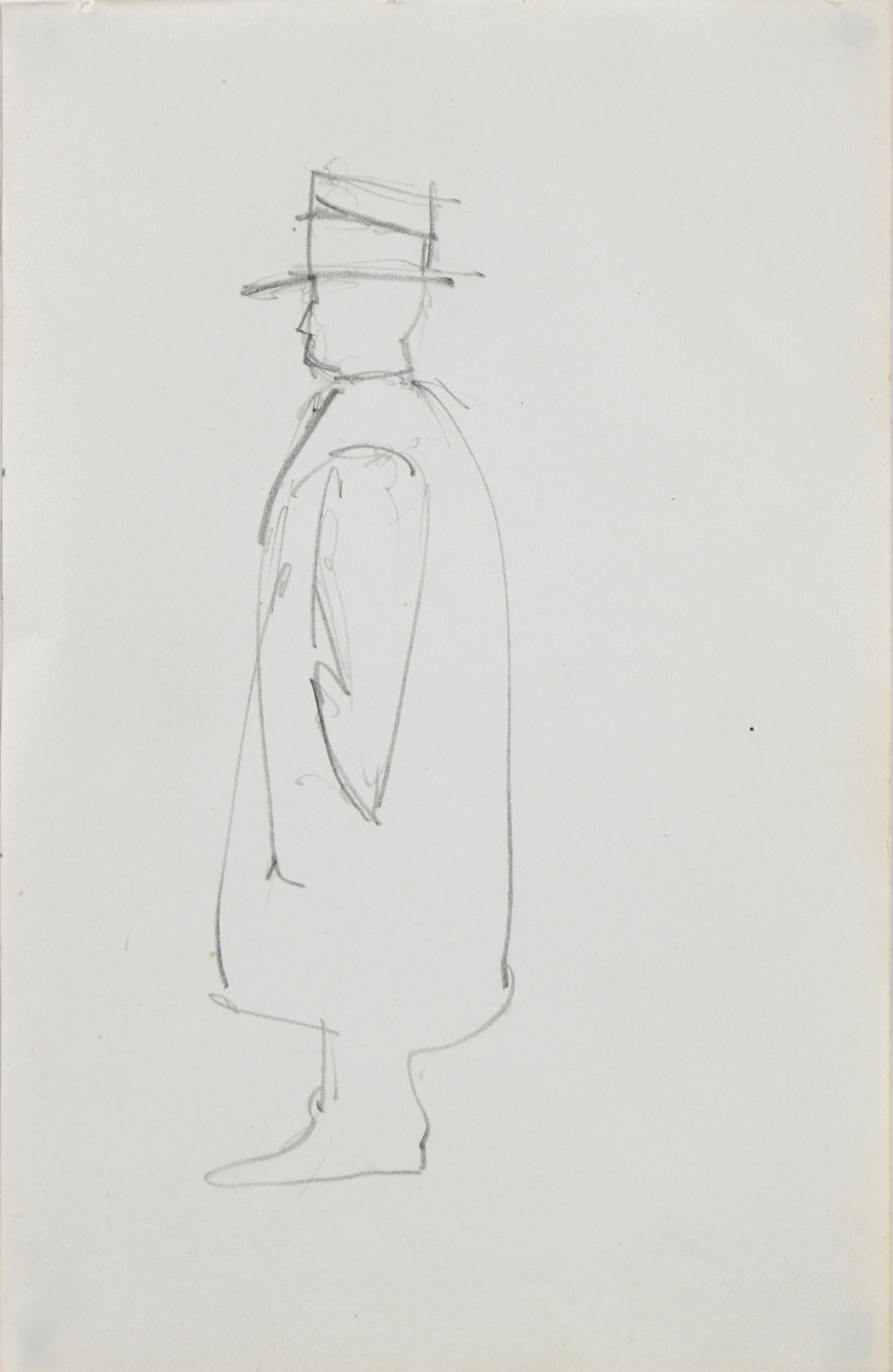 Mid Century Man in Hat <br>1963 Graphite <br><br>#96748