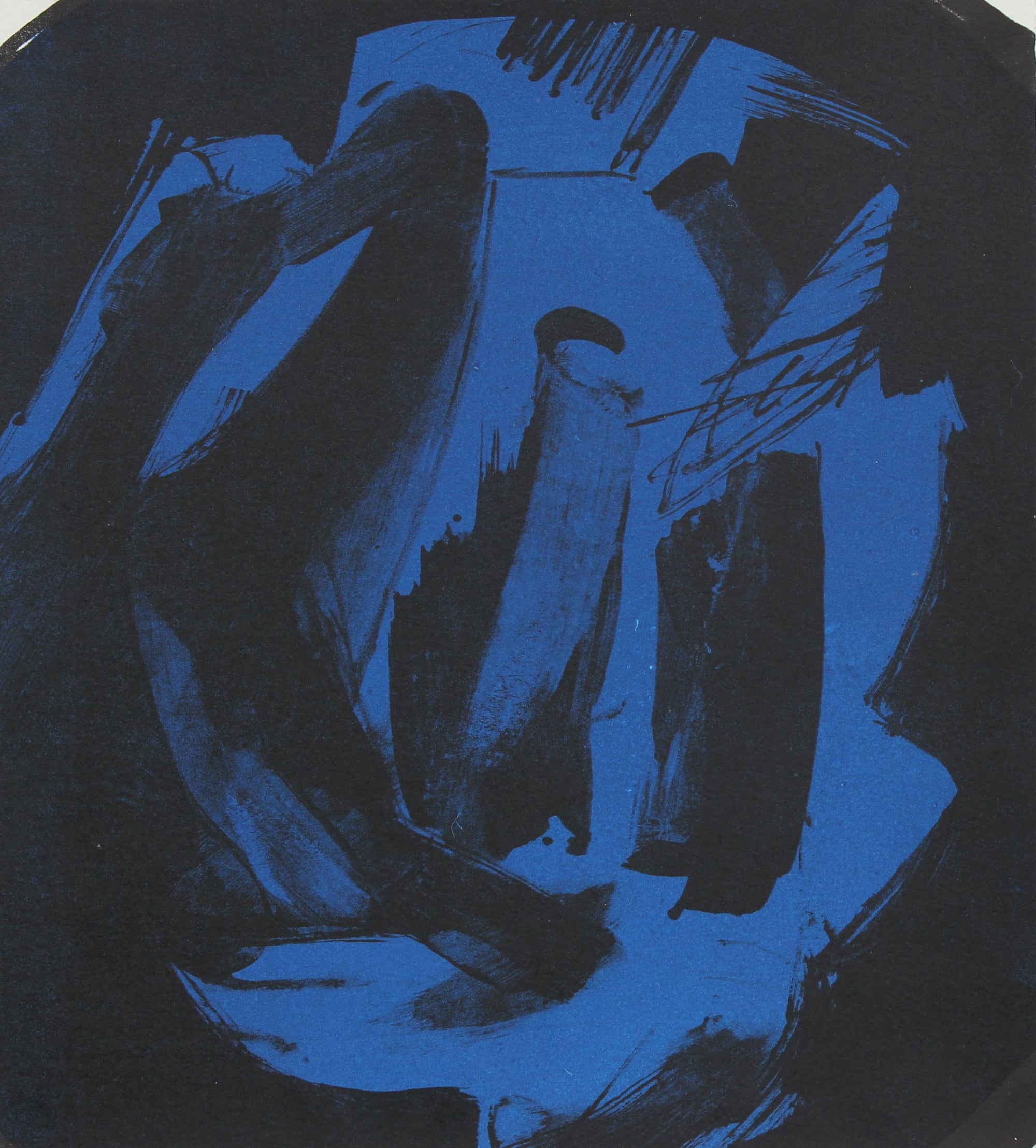 Abstract Print in Blue and Black<br>1997 Lithograph <br><br>#96831