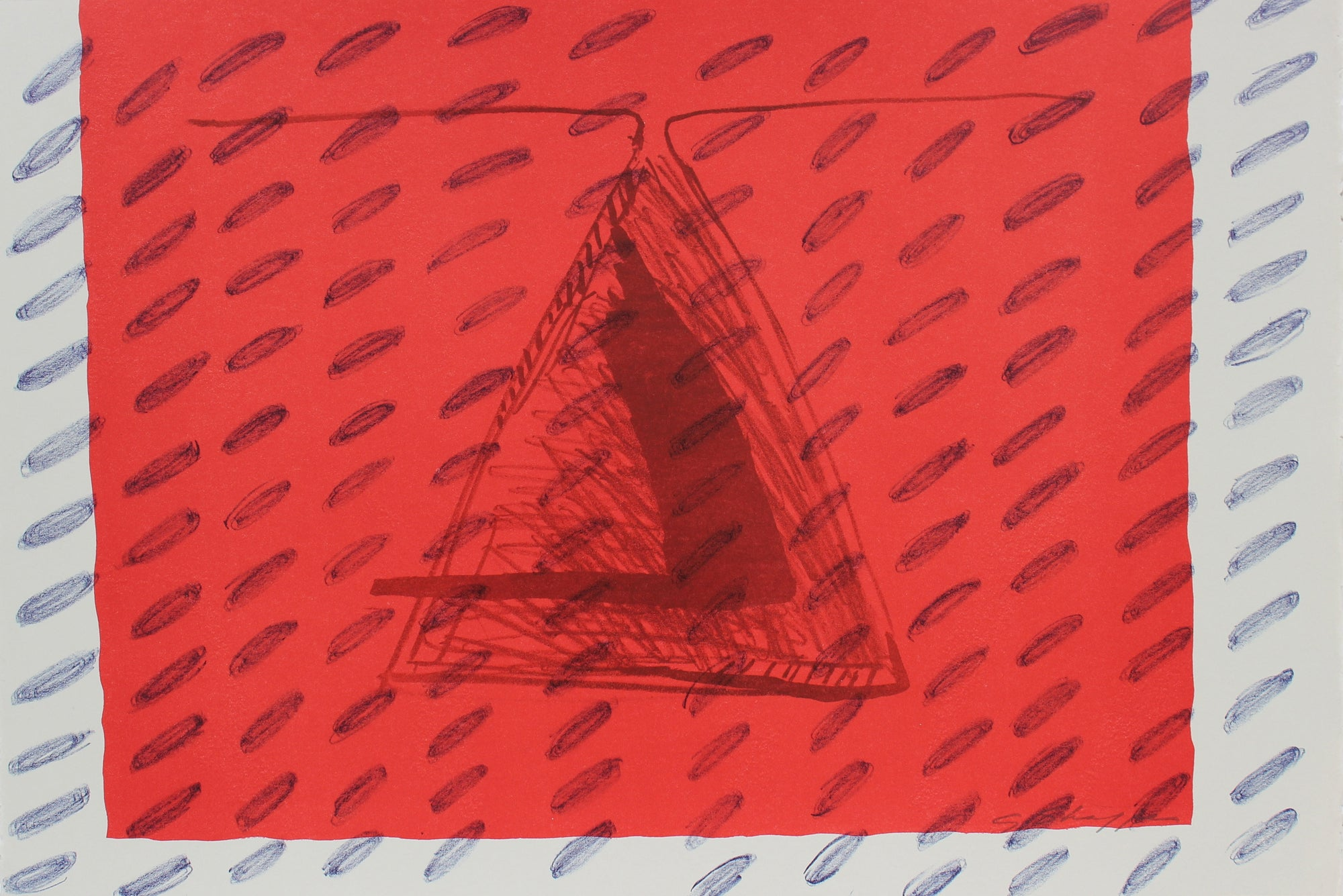 Abstracted Print in Red<br>1999 Lithograph <br><br>#96837