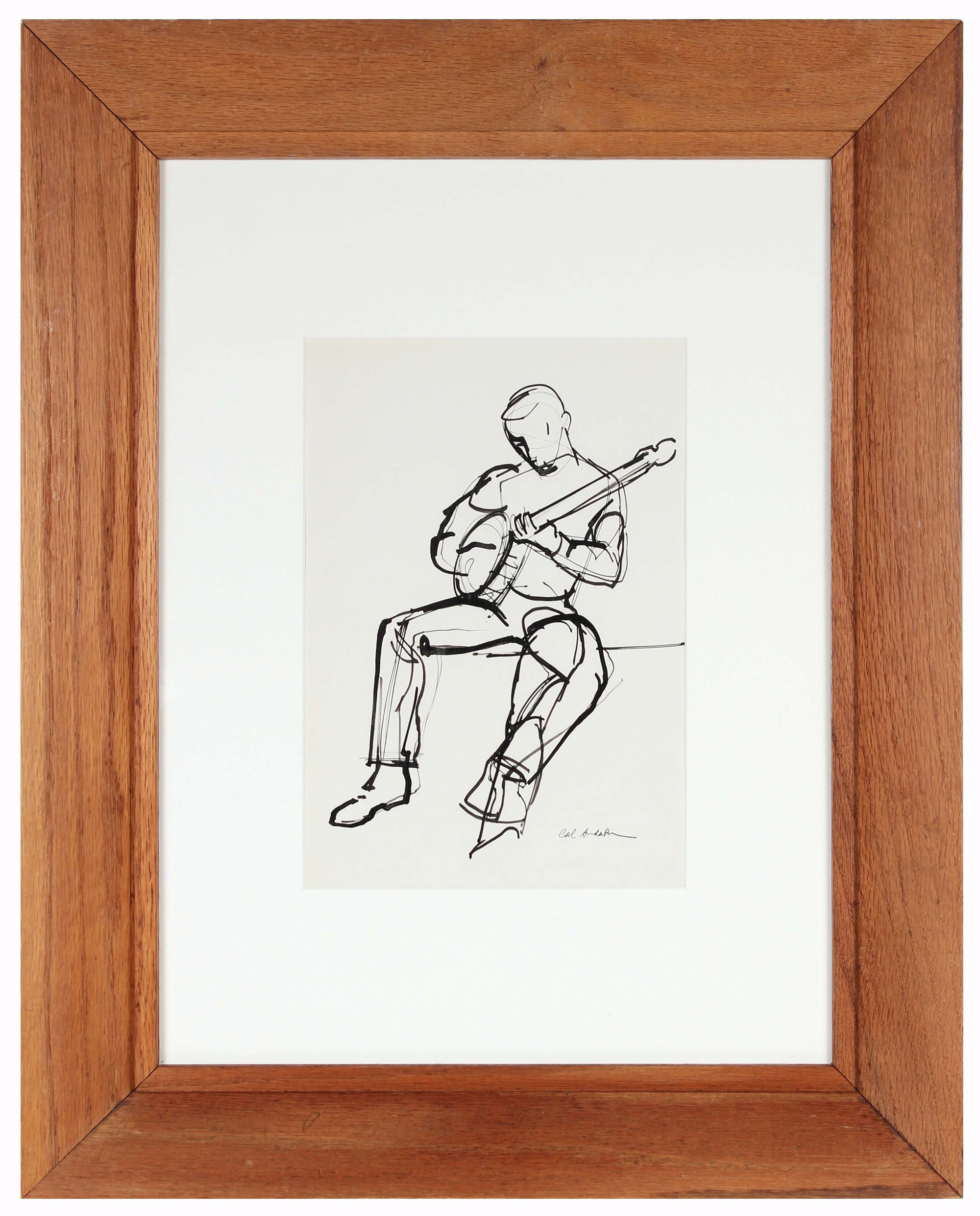Figural Study of Musician<br>Mid 20th Century Ink on Paper<br><br>#97510