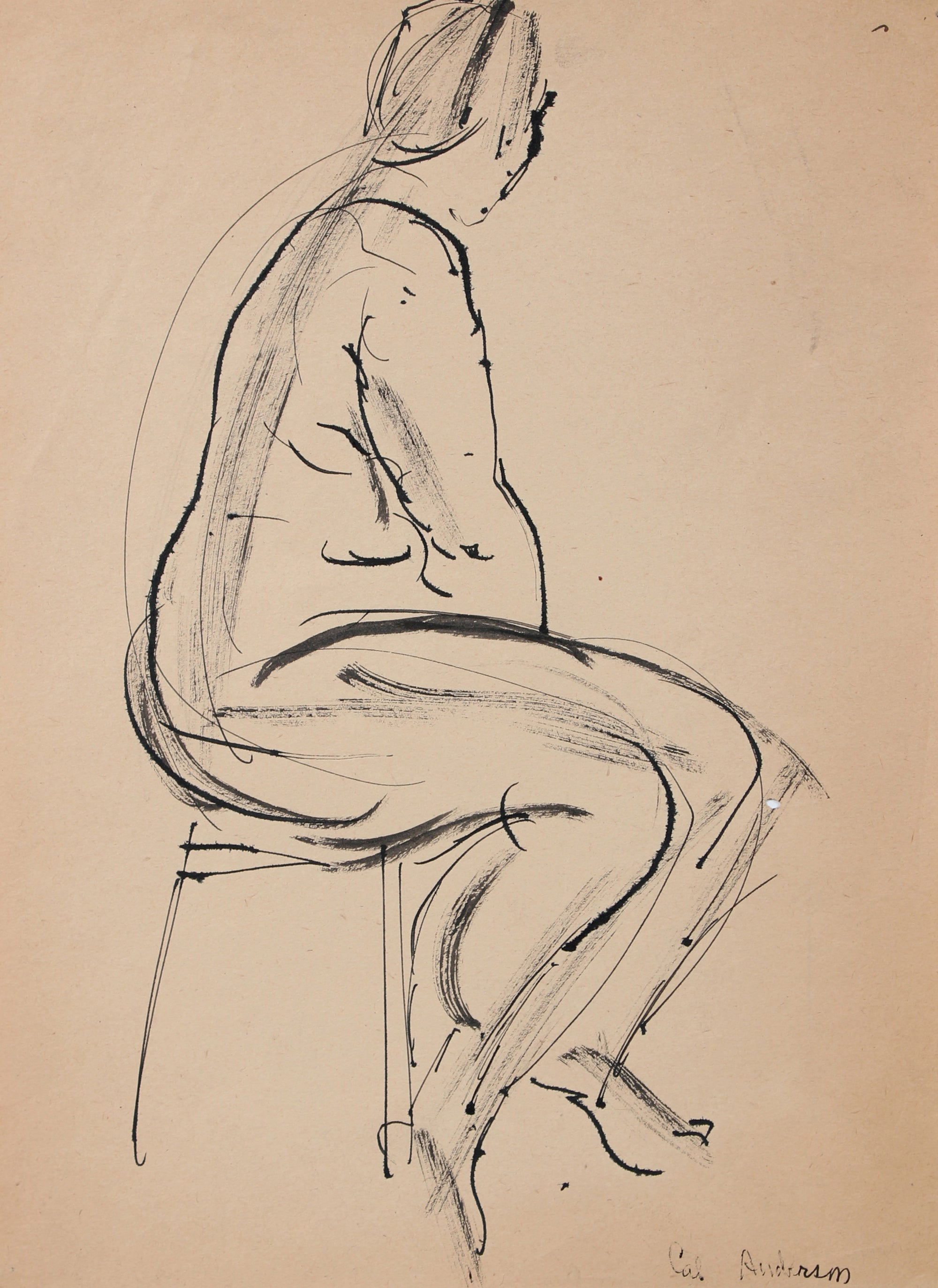 Modernist Figure Model Drawing <br>Mid 20th Century Ink <br><br>#97517