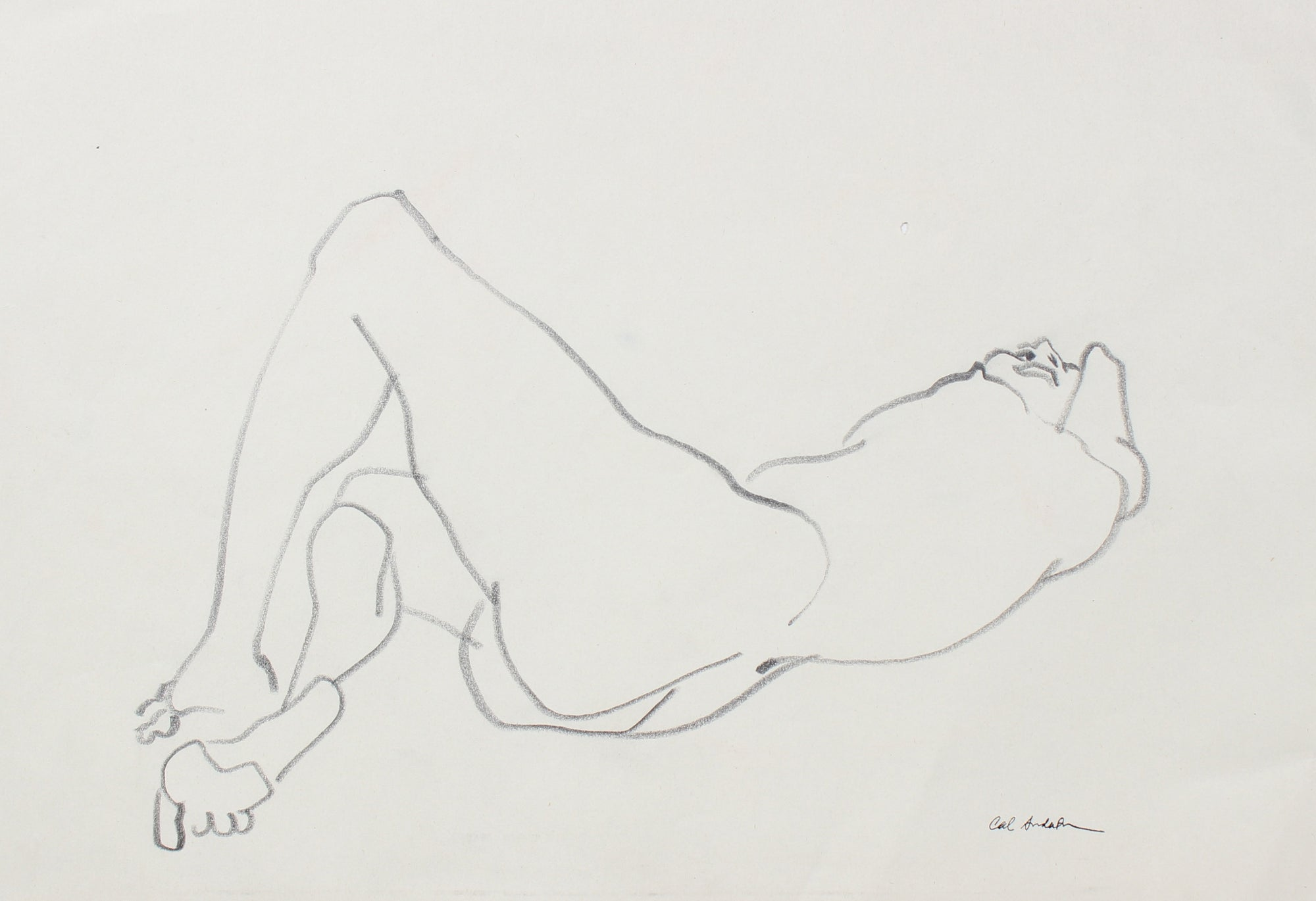 Reclining Modernist Figure <br>Mid 20th Century Ink <br><br>#97518