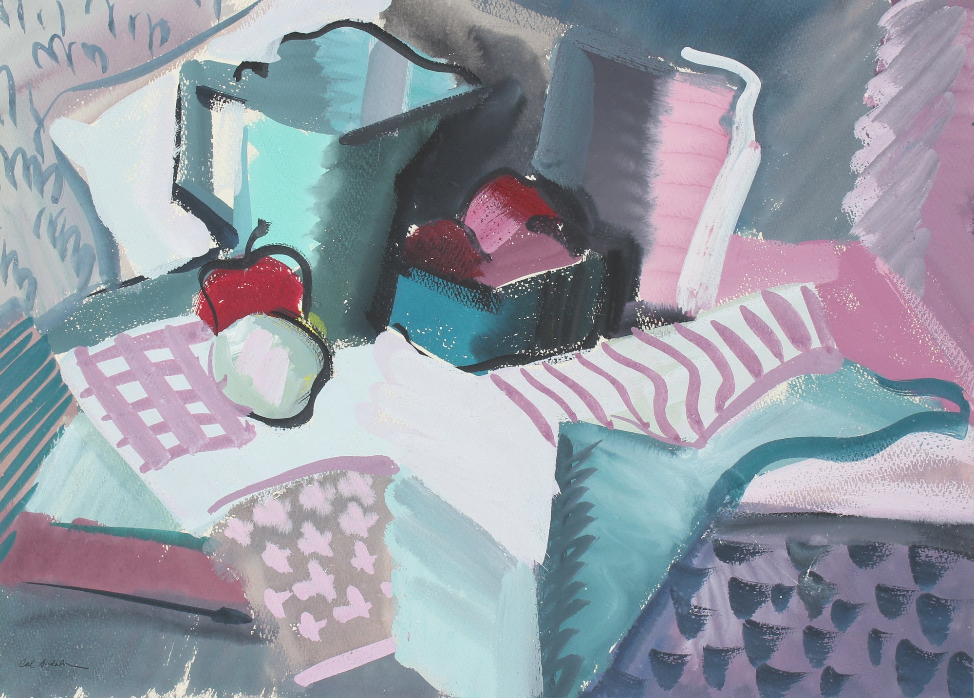 Cubist Still Life In Cool Tones <br>1943 Gouache <br><br>#97547
