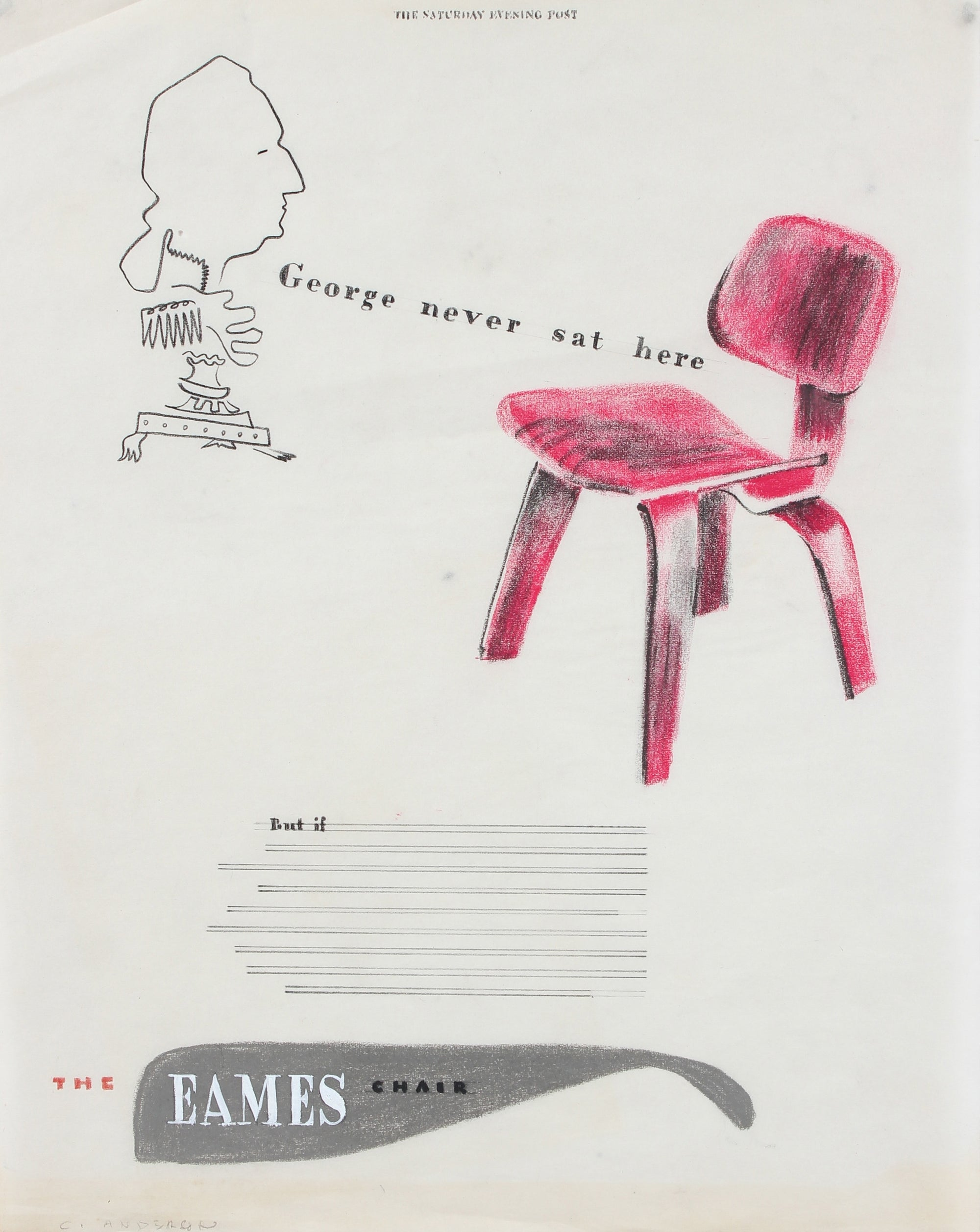 <i>George Never Sat Here</i> <br>Mid Century Ad Illustration <br><br>#97575