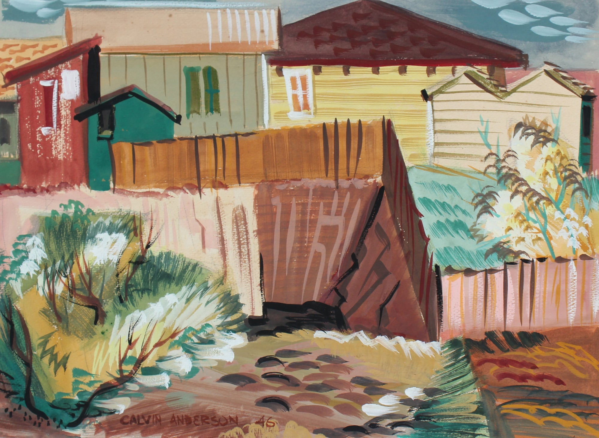 Geometric Backyard City Scene <br>1946 Gouache<br><br>#97594