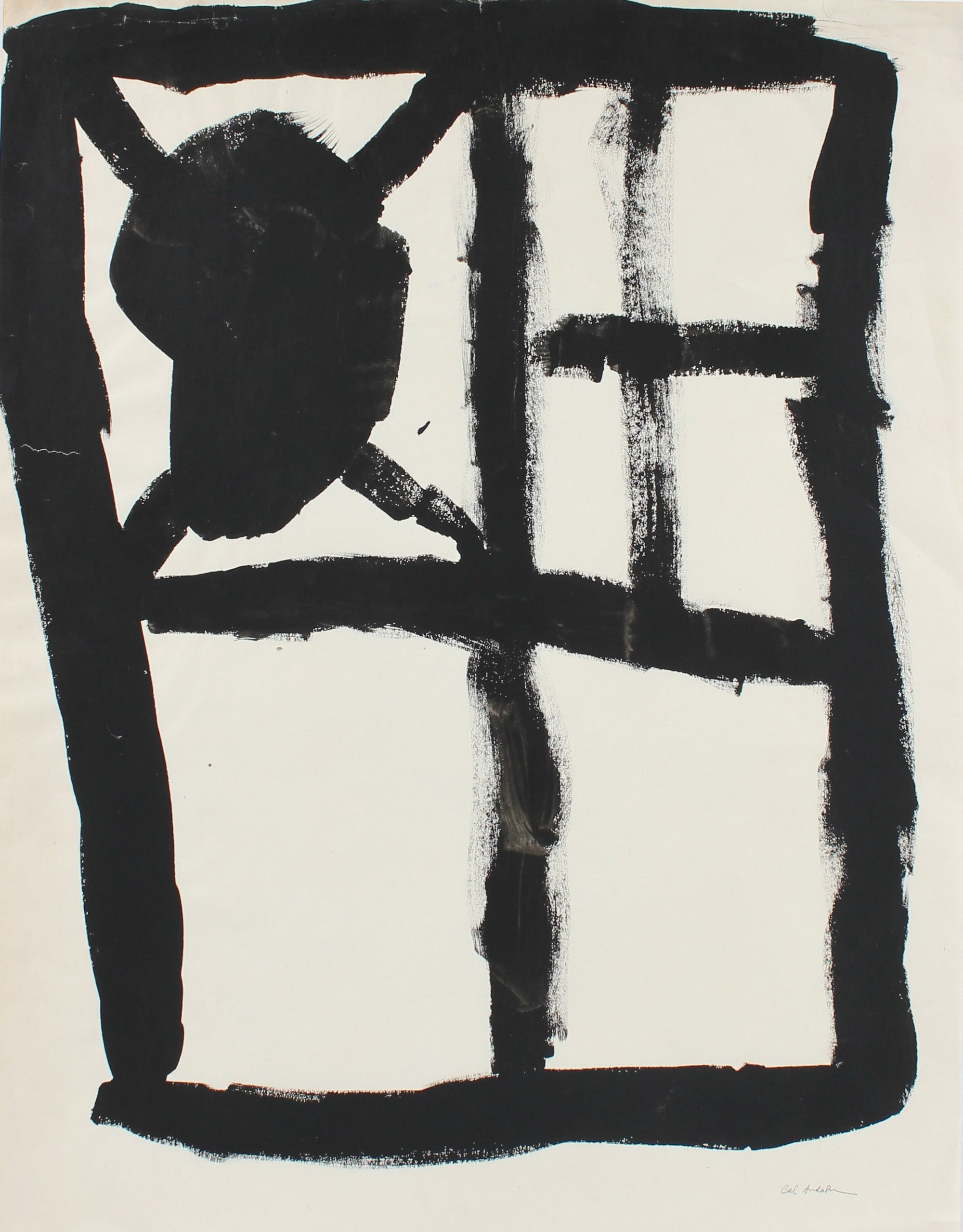 Modern Grid Abstract in Black <br>20th Century Gouache <br><br>#97621