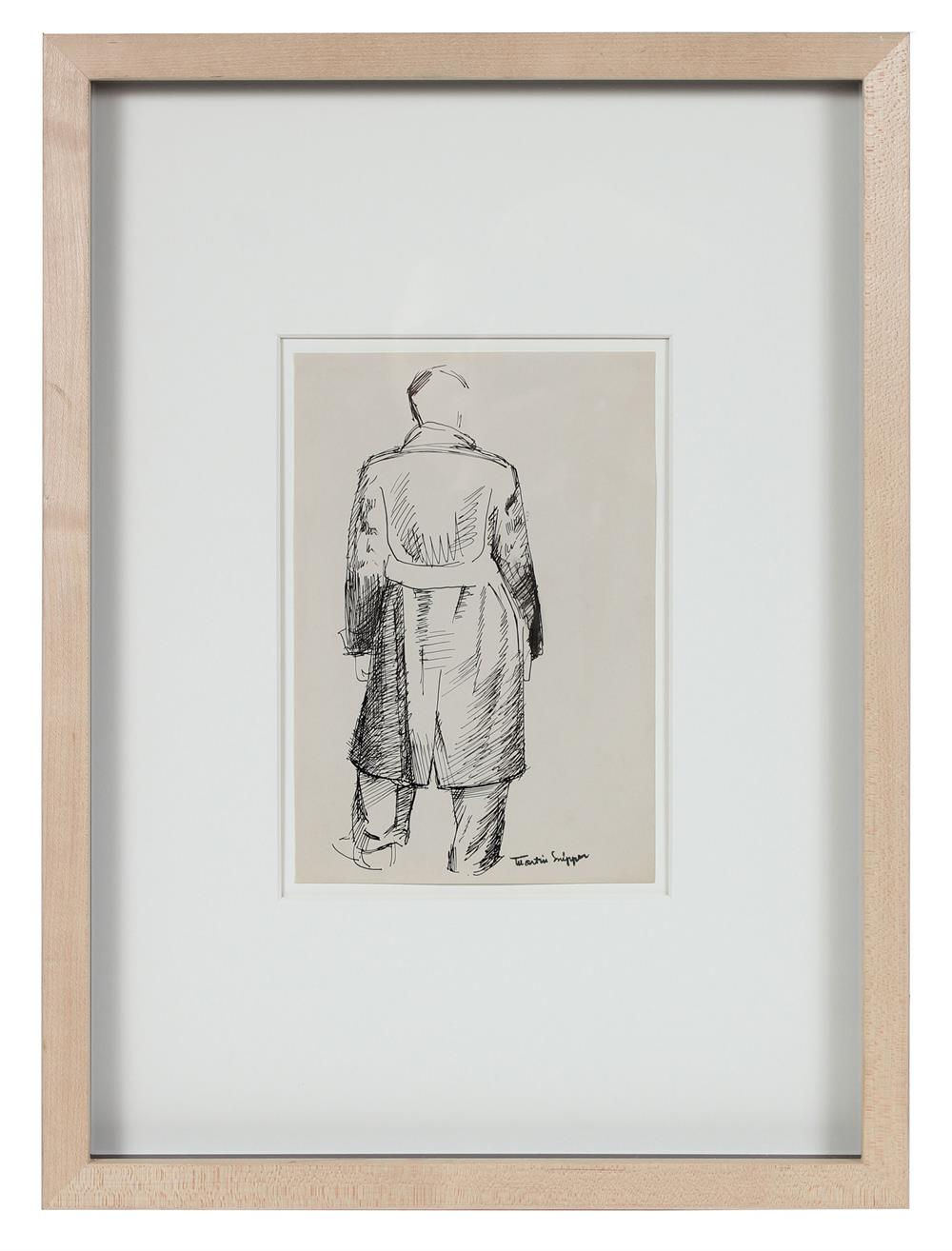 Man in Trench Coat<br>Mid Century Ink Sketch<br><br>#49788