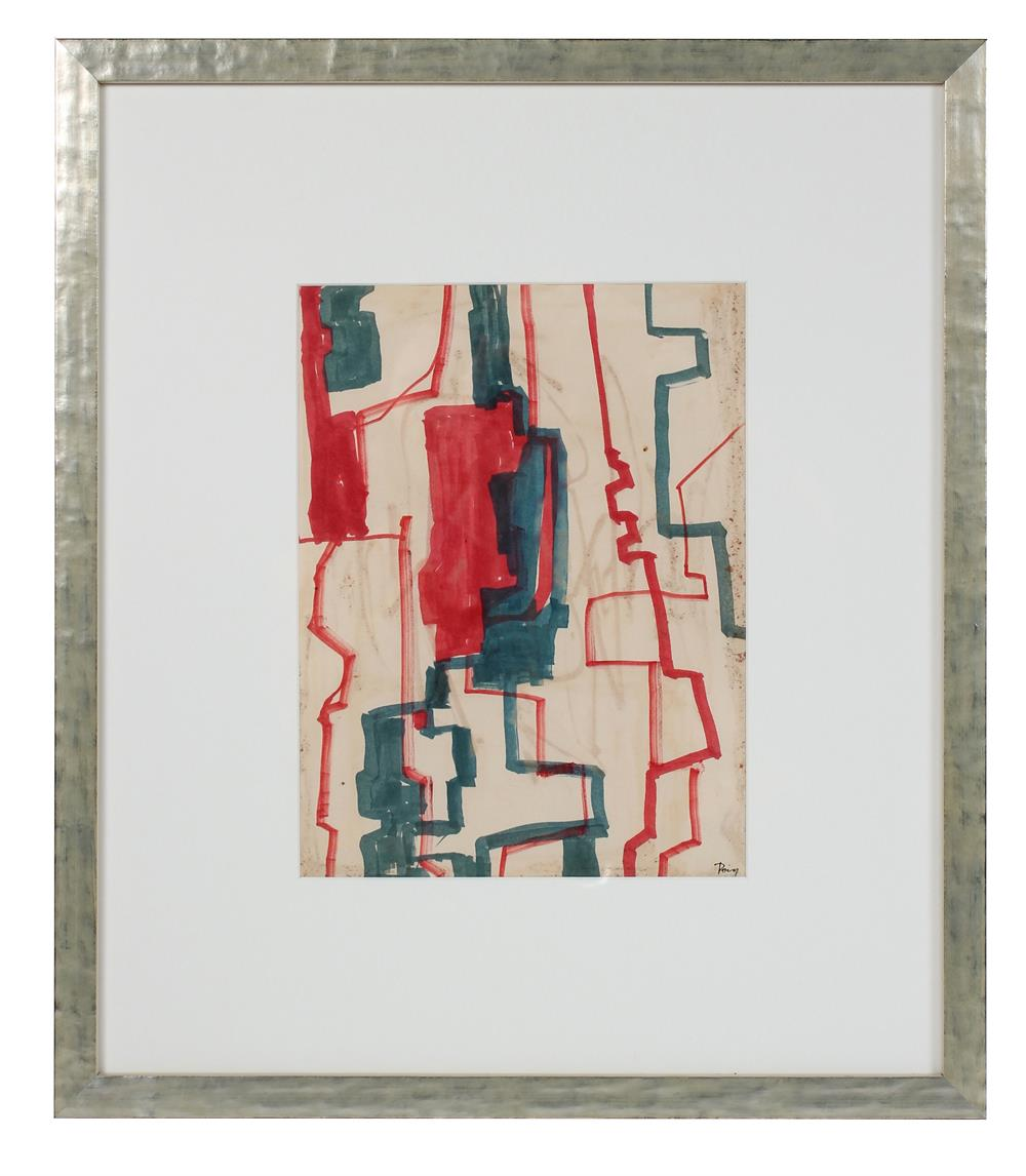 Geometric Modernist Abstract in Blue & Red<br>1960s Ink<br><br>#97722