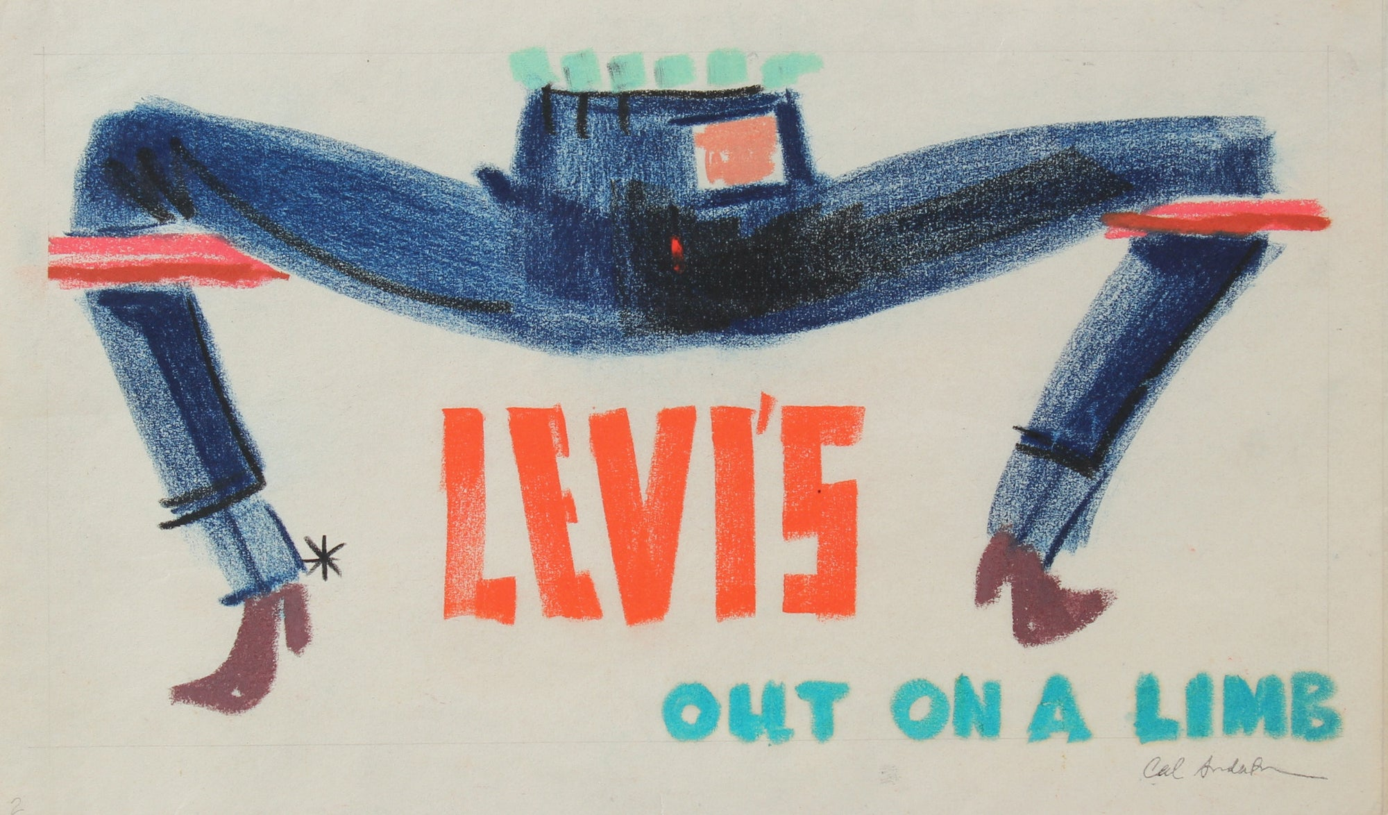 <i>Levi's, out on a Limb</i> <br>Mid 20th Century Pastel <br><br>#97755