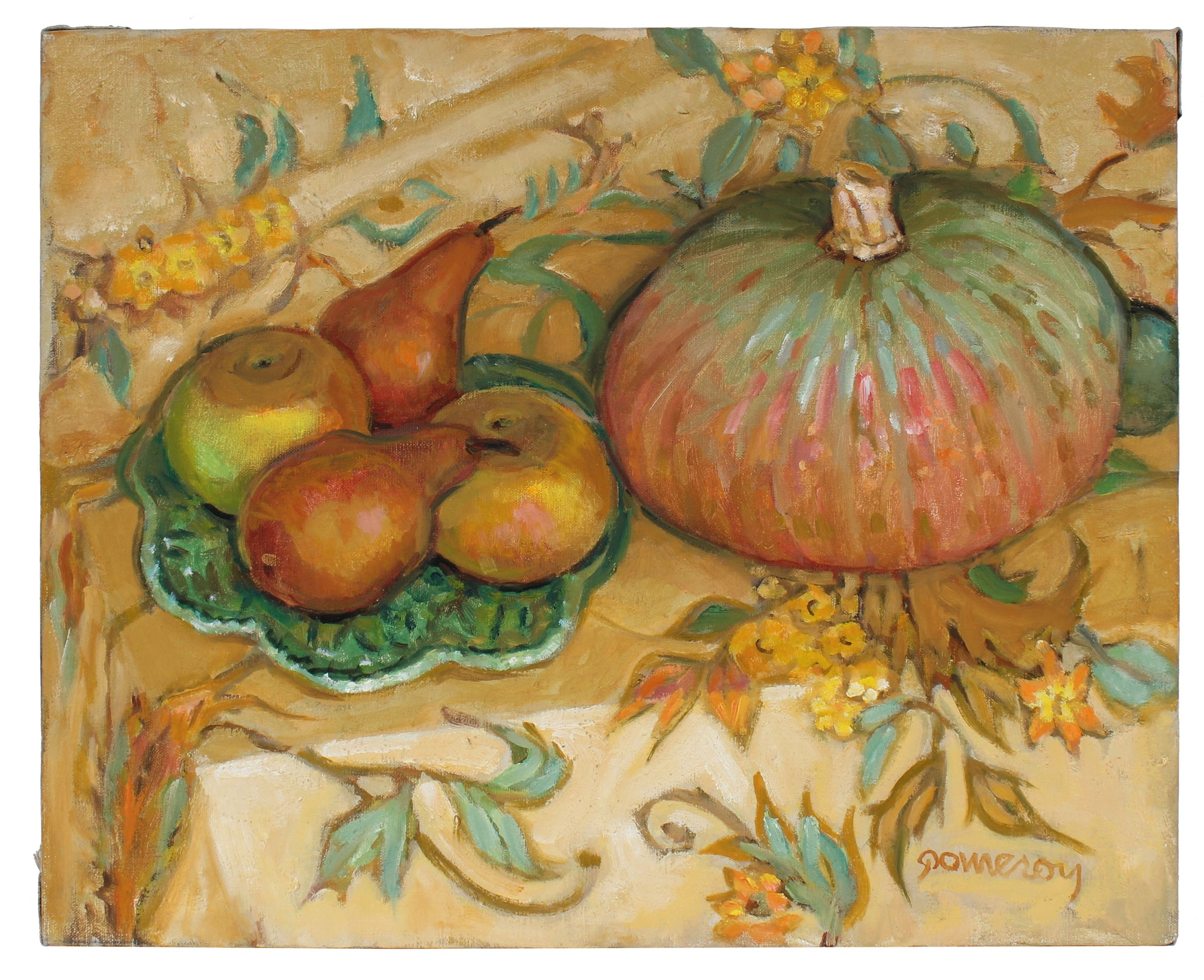 Autumn Fruit Still Life <br>Late 20th Century Oil <br><br>#97841