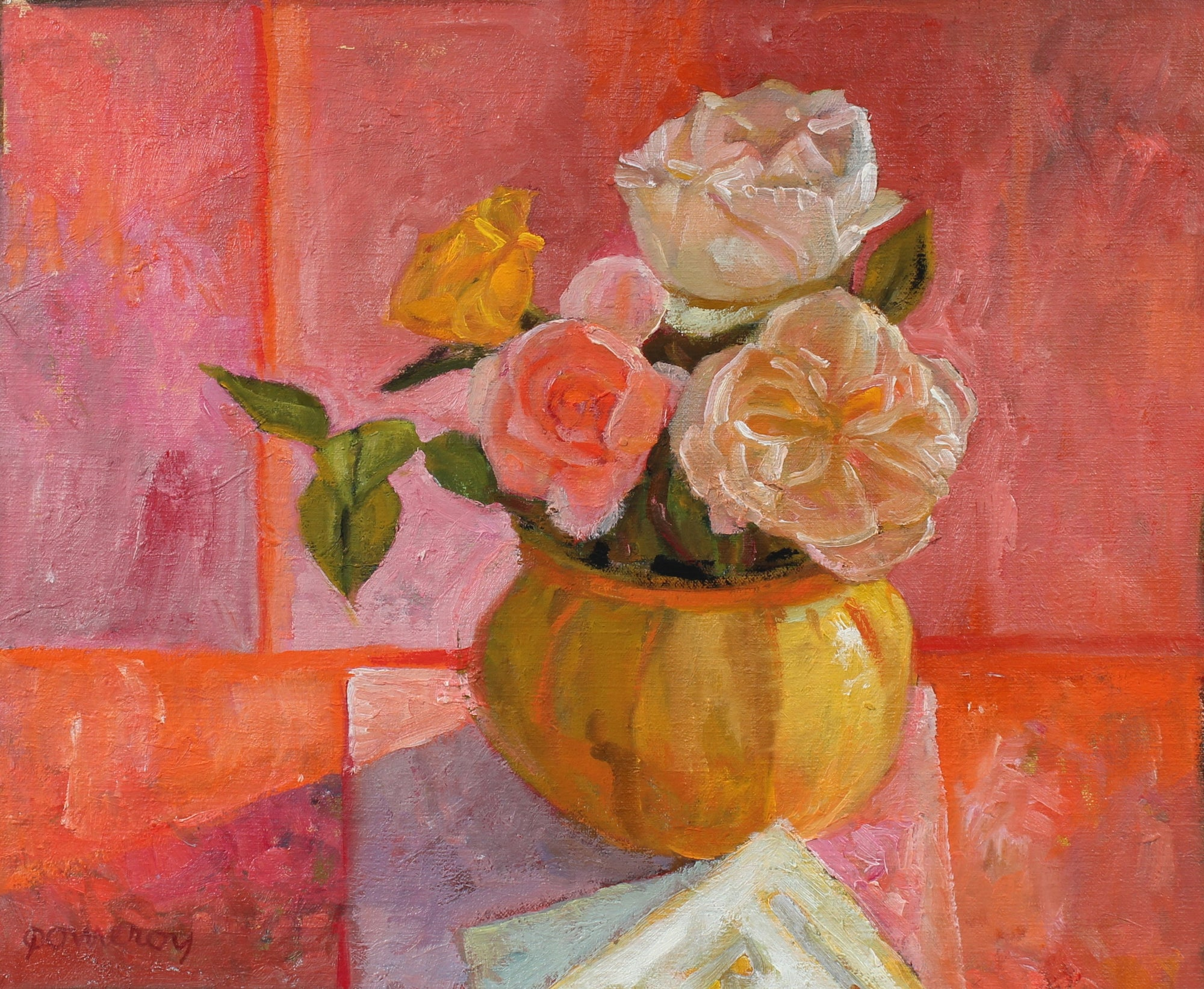 Pink Roses in Vase Still Life <br>Late 20th Century Oil <br><br>#97849