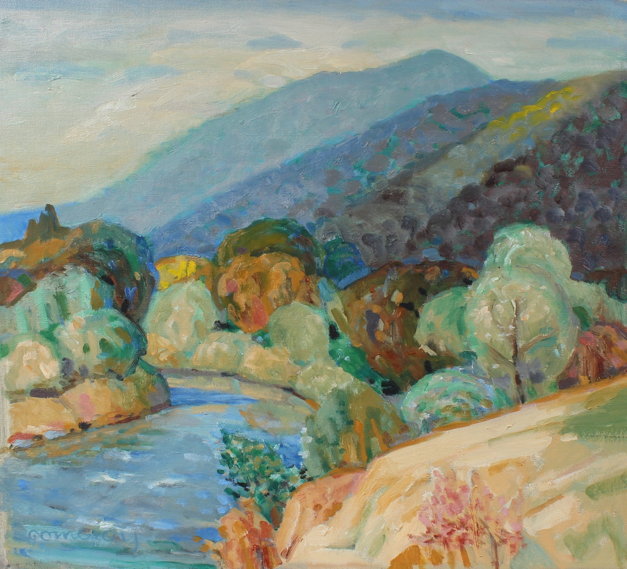 Creek with Mountains Landscape <br>20th Century Oil <br><br>#97854