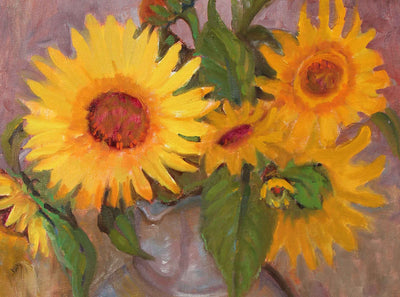 Cheery Sunflower Still Life<br>Late 20th Century Oil<br><br>#97857
