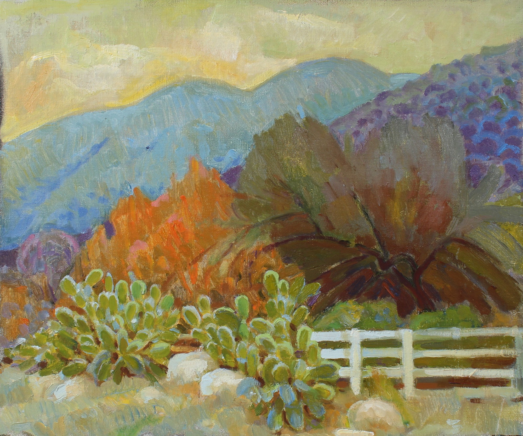 Cactus with Mountain Scene <br>20th Century Oil <br><br>#97858