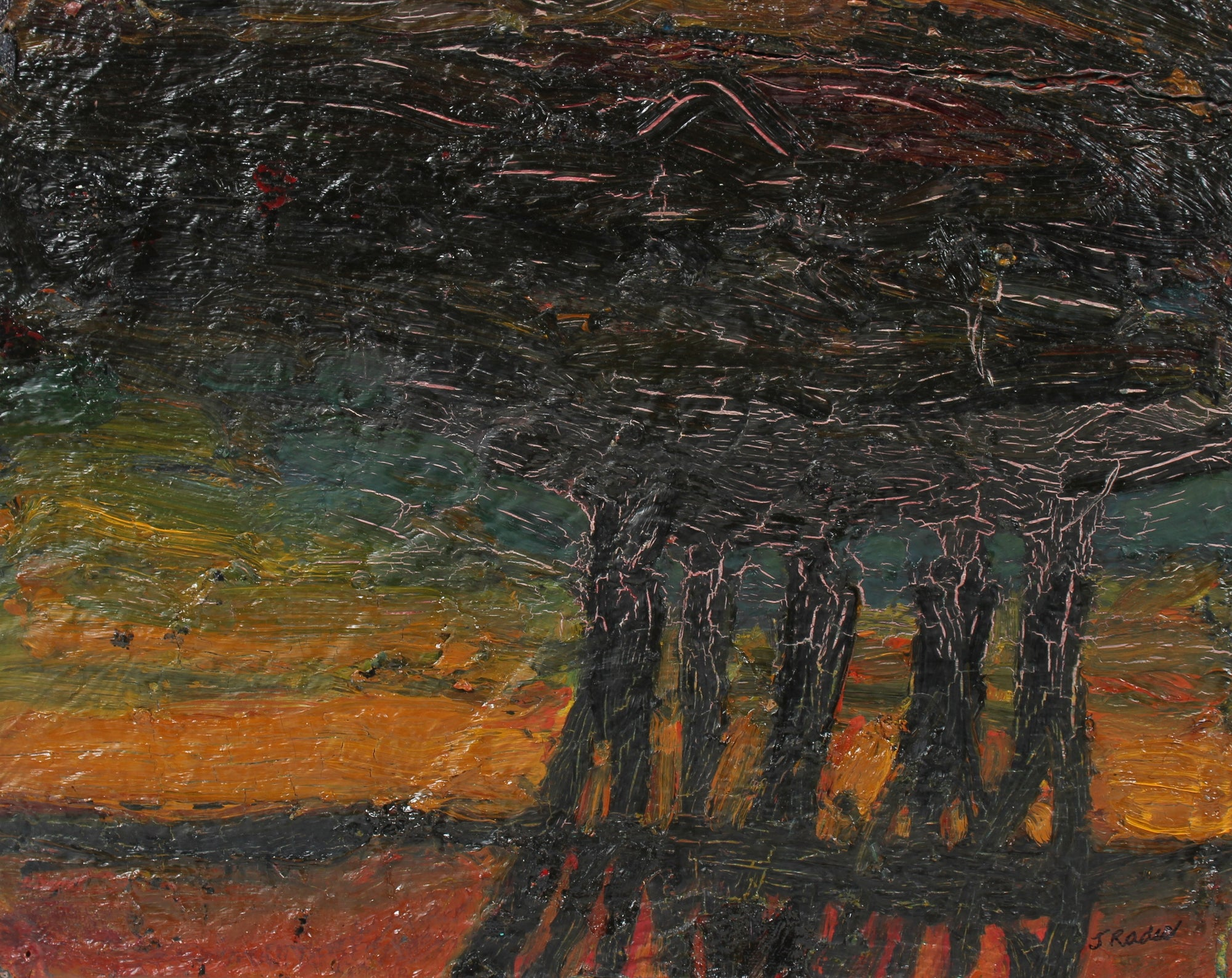 Abstracted Modernist Landscape<br>20th Century Oil & Beeswax<br><br>#98138