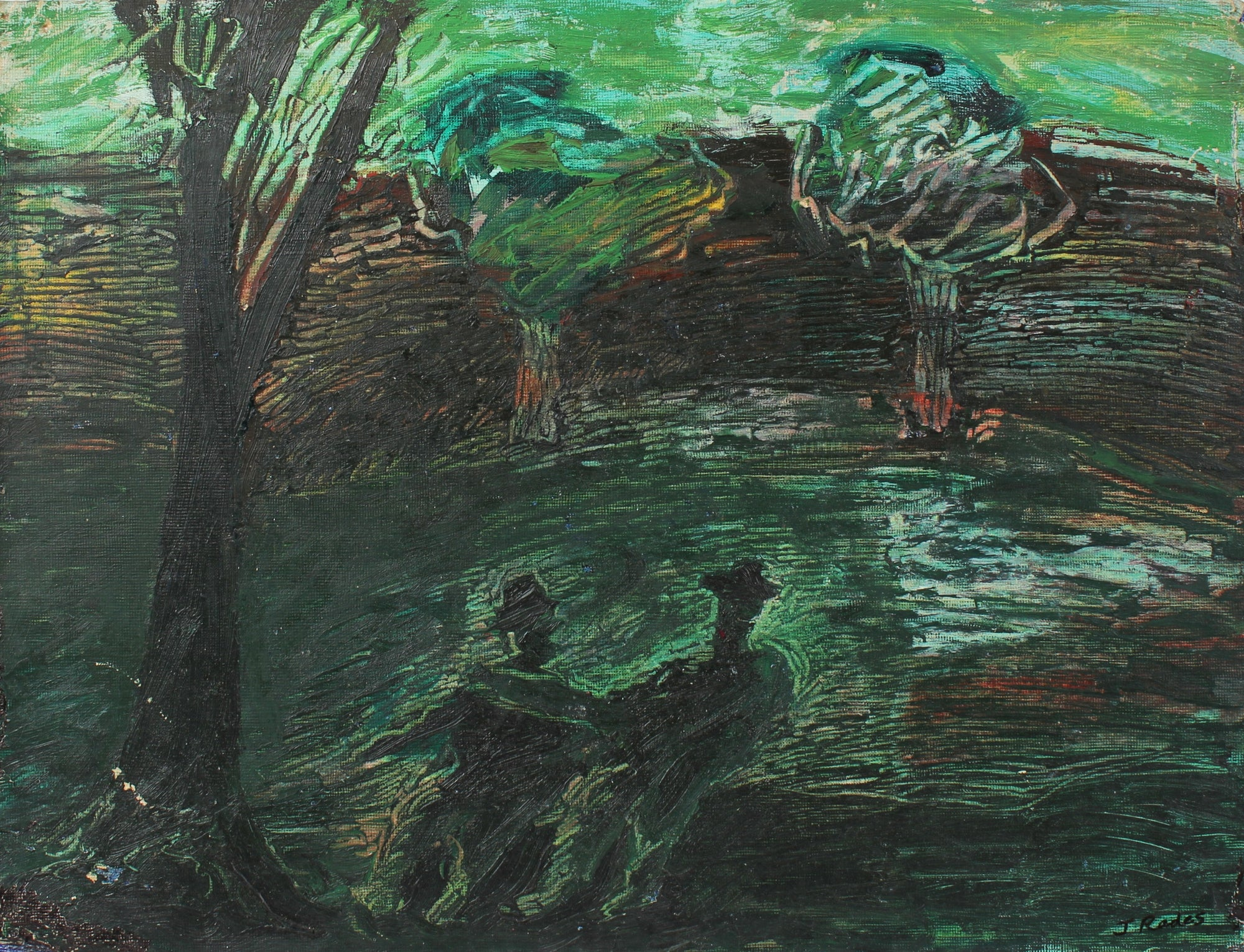 Friends in the Park Abstracted Landscape<br>20th Century Oil<br><br>#98139