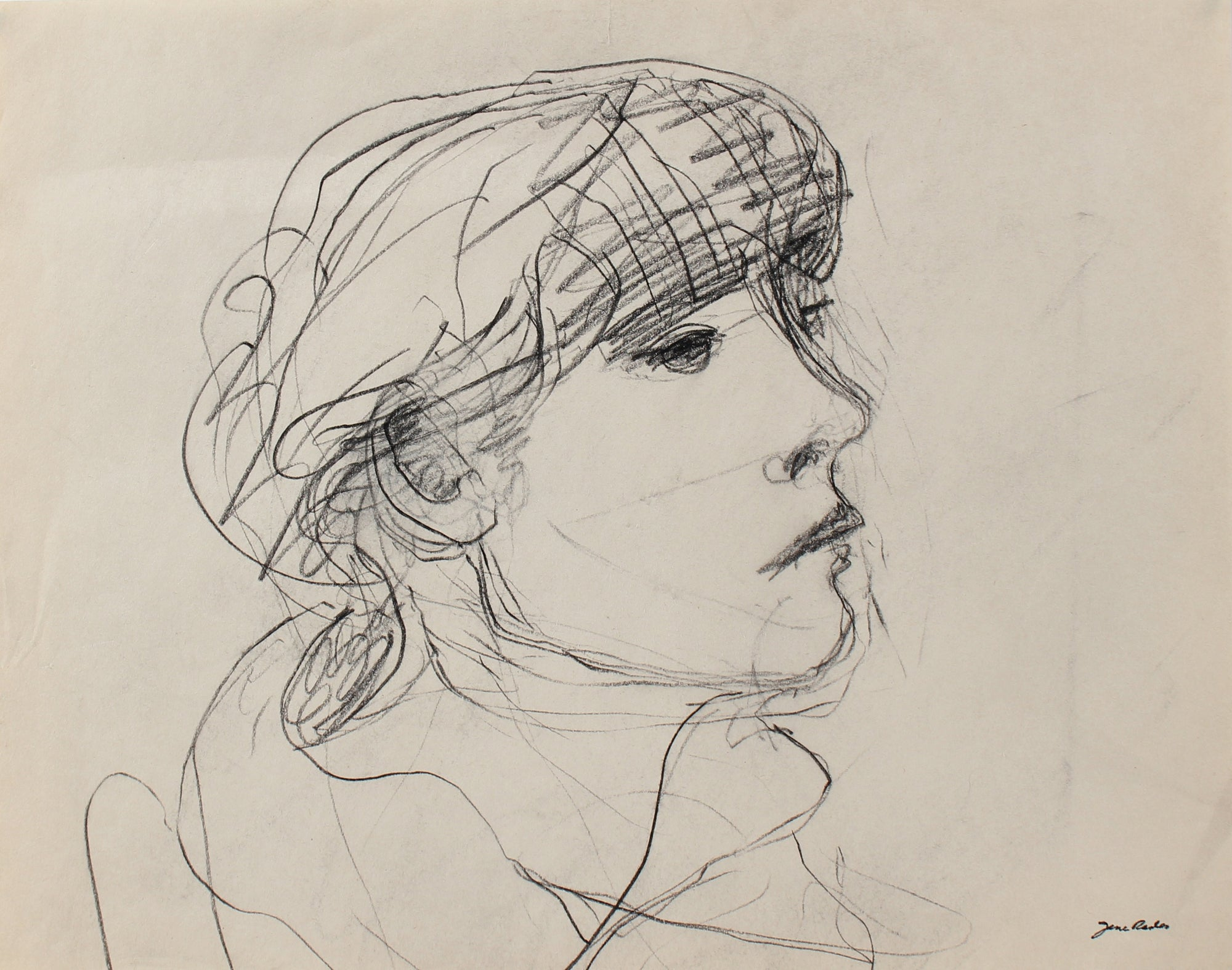 Loose Sketch of a Girl<br>20th Century Charcoal<br><br>#98140