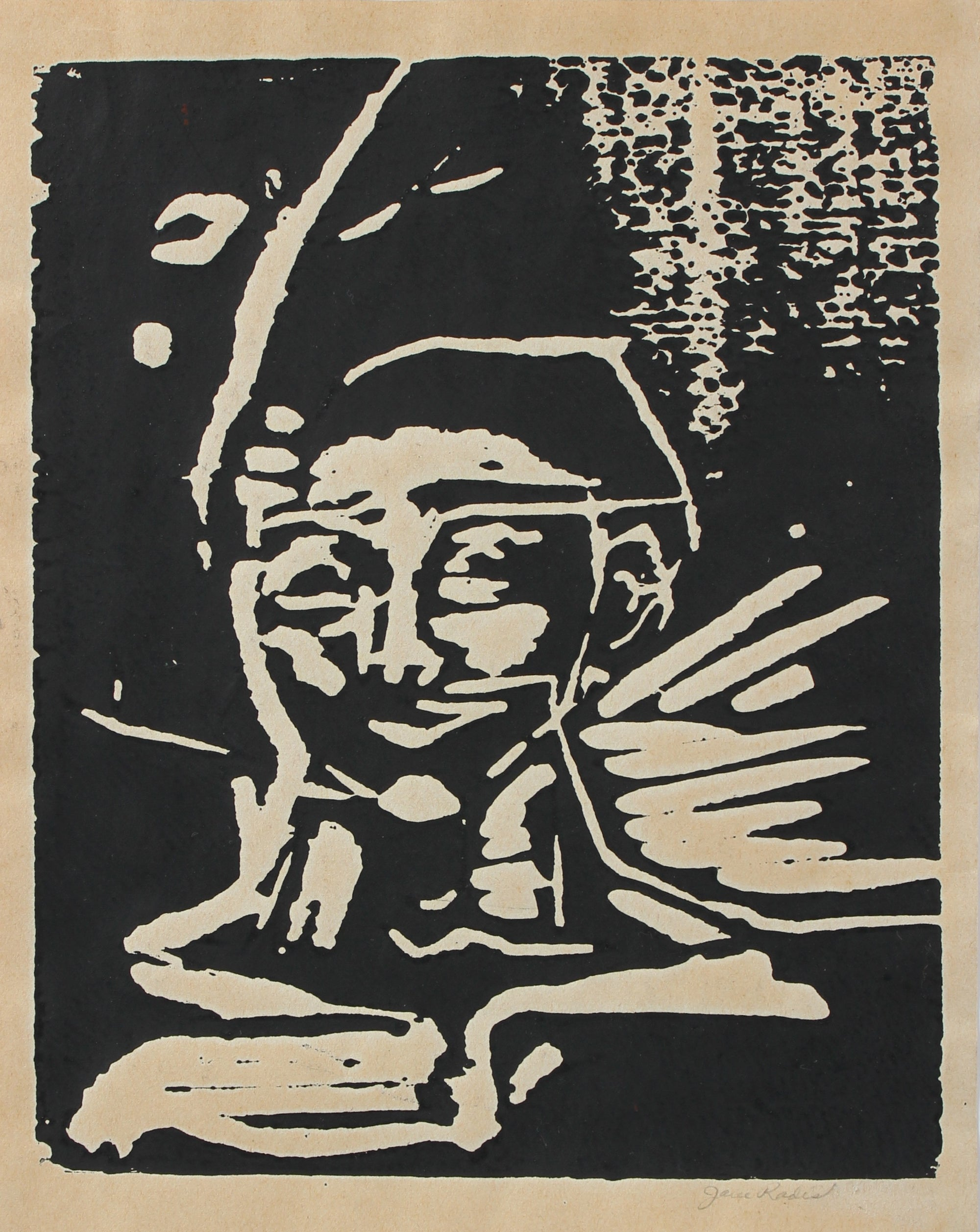 Expressionist Linocut Print Portrait<br>Mid-Late 20th Century<br><br>#98141