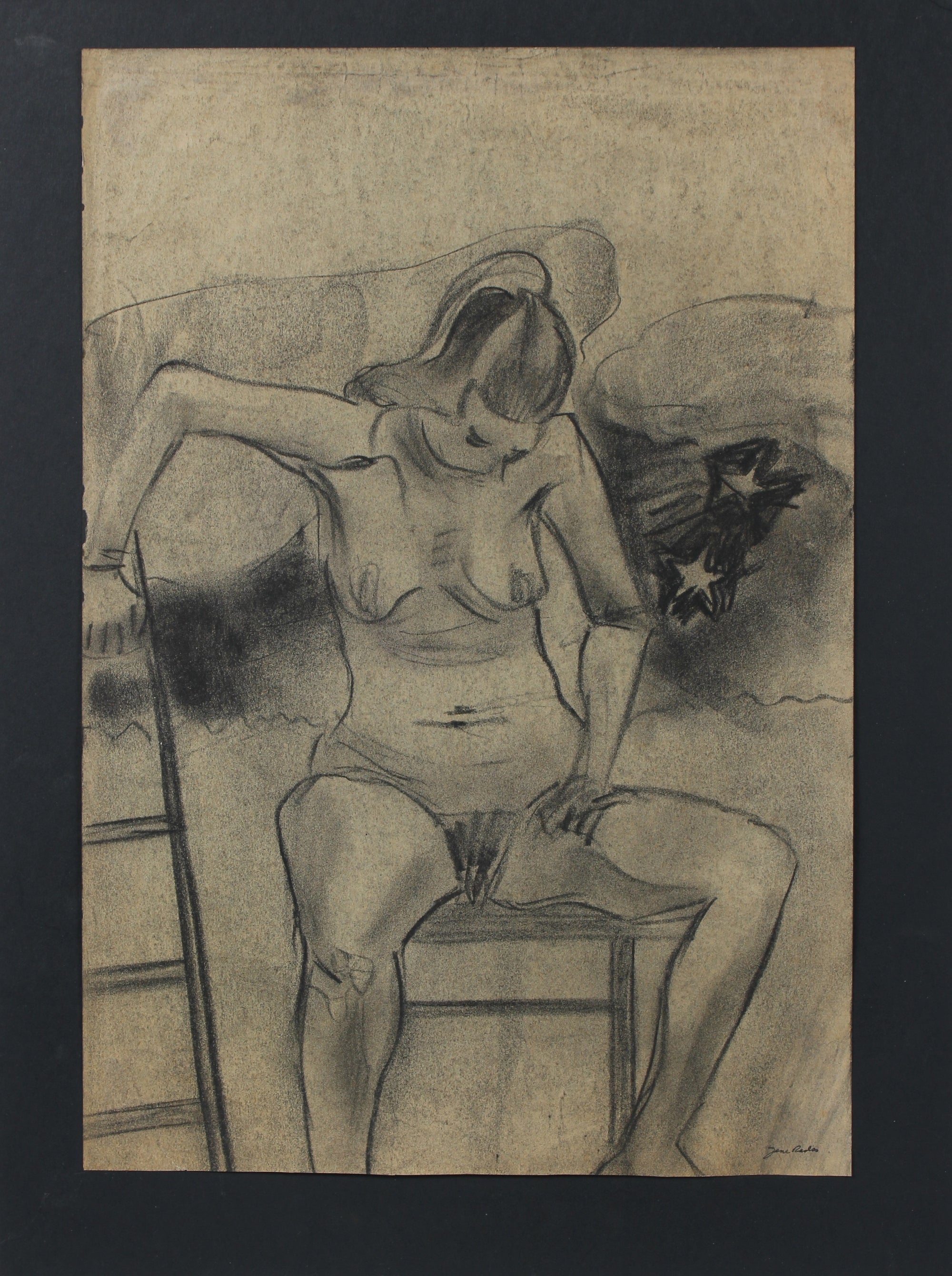 Seated Charcoal Nude with Ladder<br>Mid - Late 20th Century<br><br>#98143