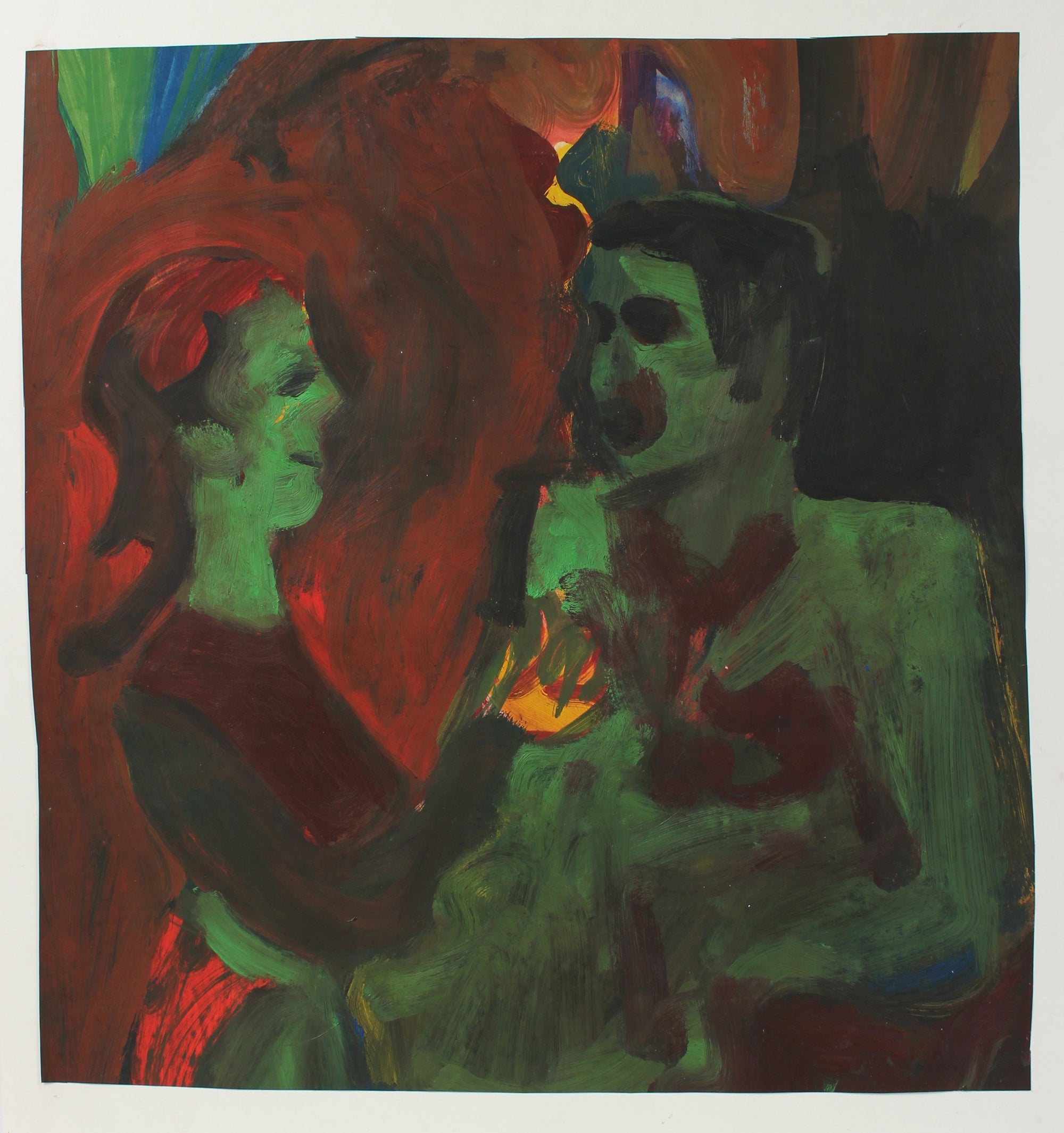 Expressionist Couple in Green<br>20th Century Oil on Paper<br><br>#98149