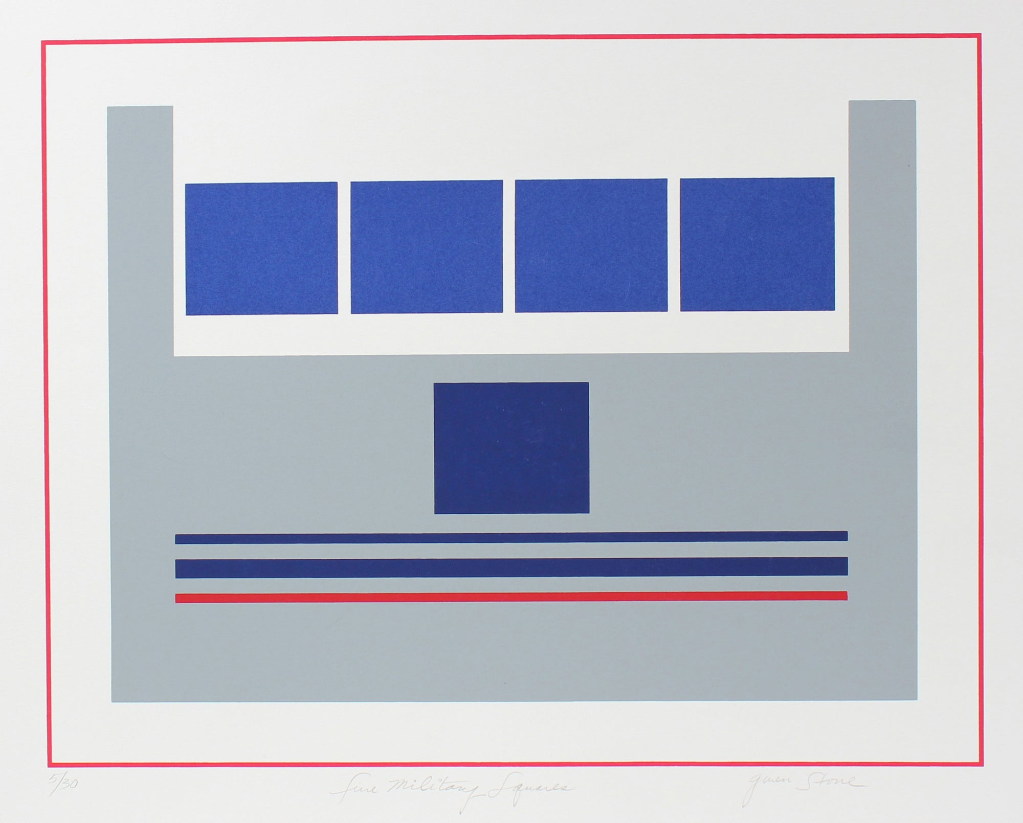 <i>Five Military Squares</i> <br>Late 20th Century Serigraph <br><br>#98177