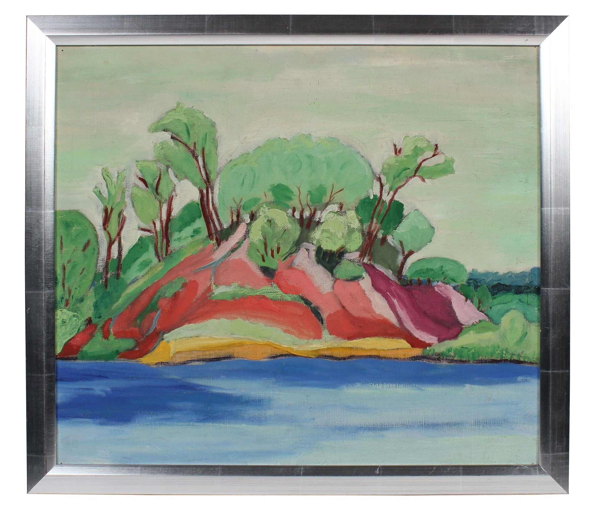 Abstracted Riverside Landscape<br>Mid Century Oil<br><br>#98473