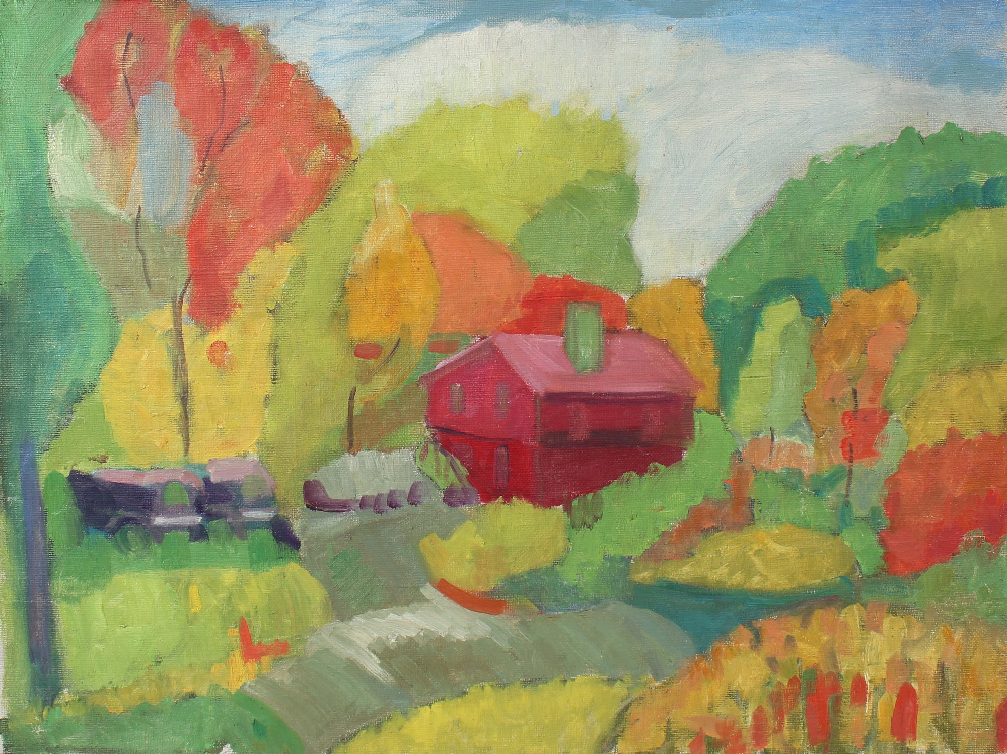House in the Countryside <br>Mid Century Oil <br><br>#98479