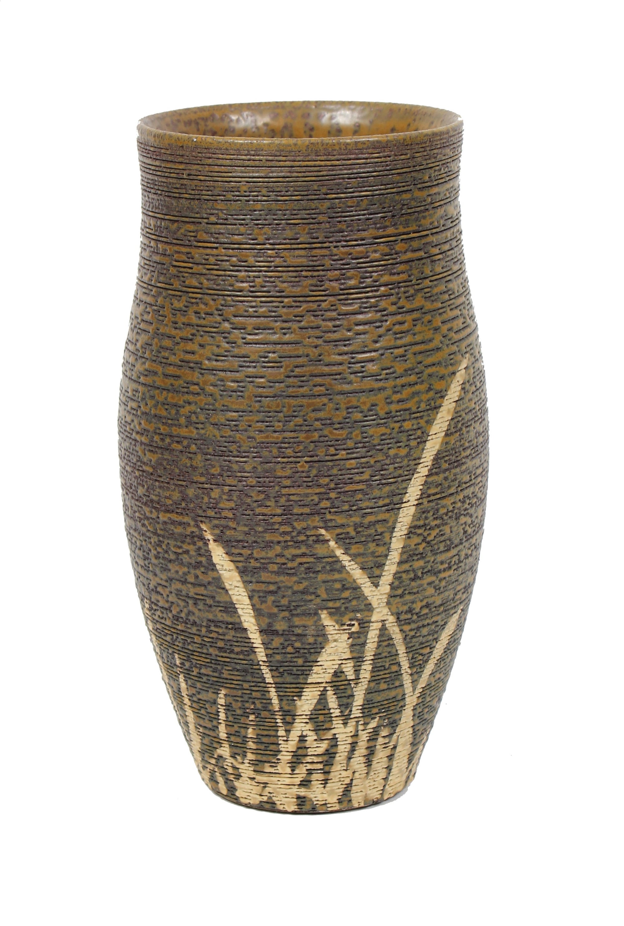 Brown Ceramic Vessel With Gray Texture And Cream Accent Lines <br><br>#98543