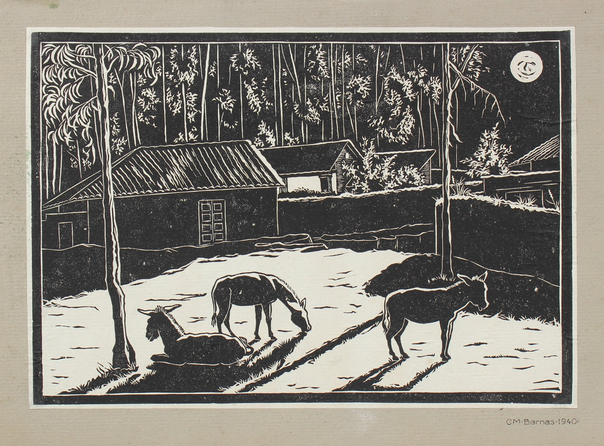 Barn with Horses Night Scene <br>1940 Linoleum Block Print <br><br>#98621