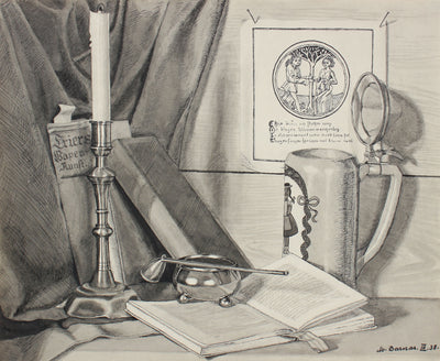 Candlestick, Book & Stein <br>1938 Ink Drawing <br><br>#98625