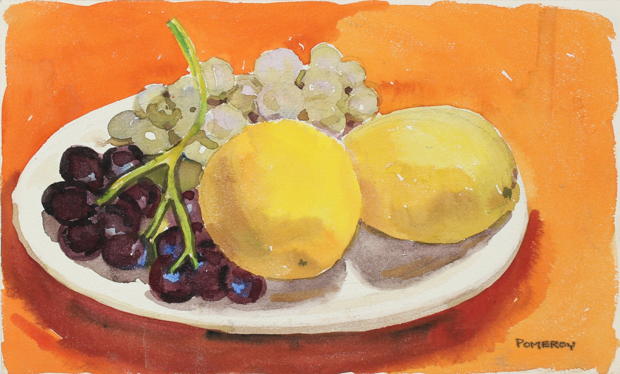 Grapes and Lemon Still Life <br>Mid-Late 20th Century Watercolor <br><br>#98629