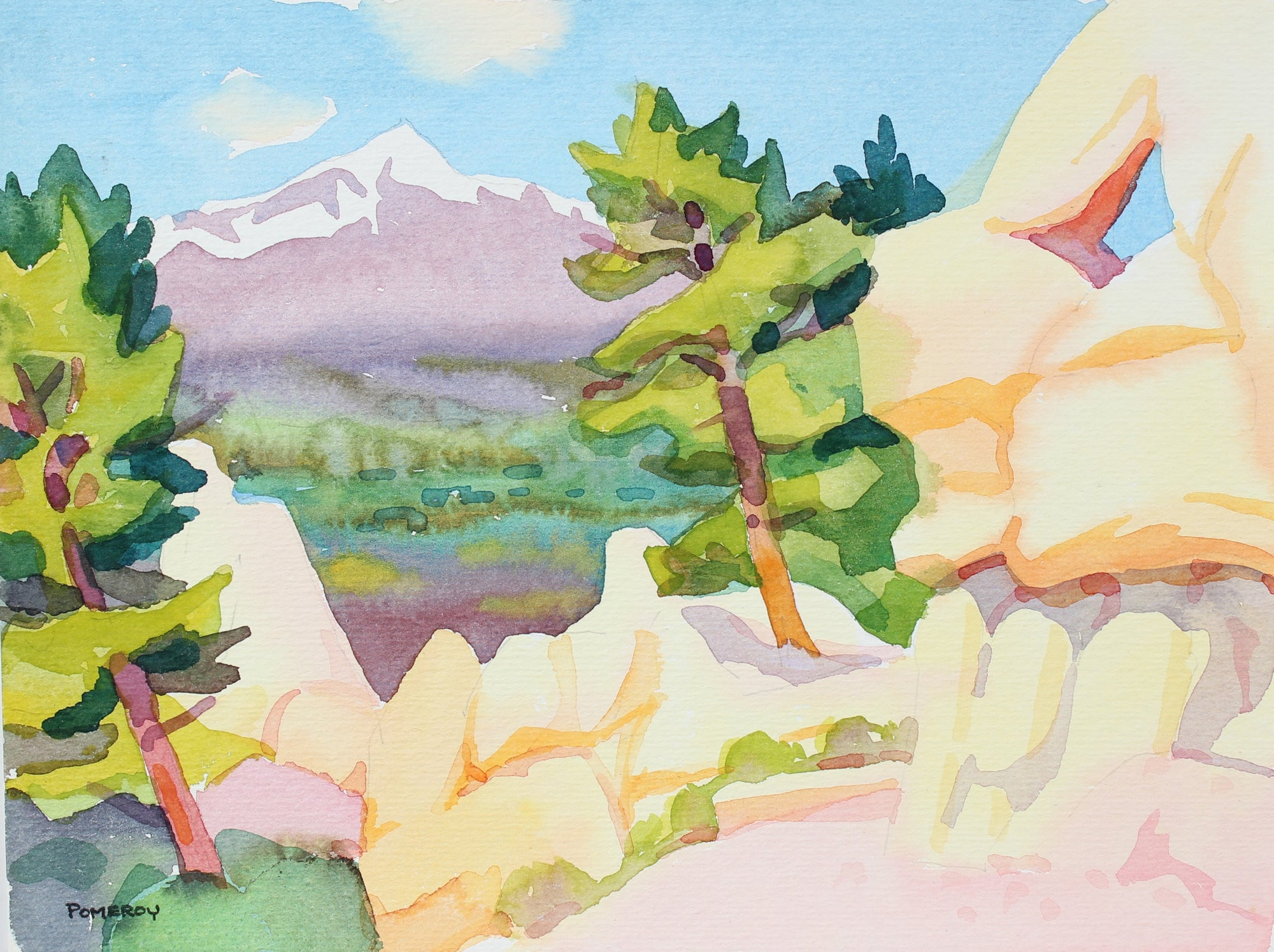 Sunny Mountain Landscape <br>20th Century Watercolor <br><br>#98630