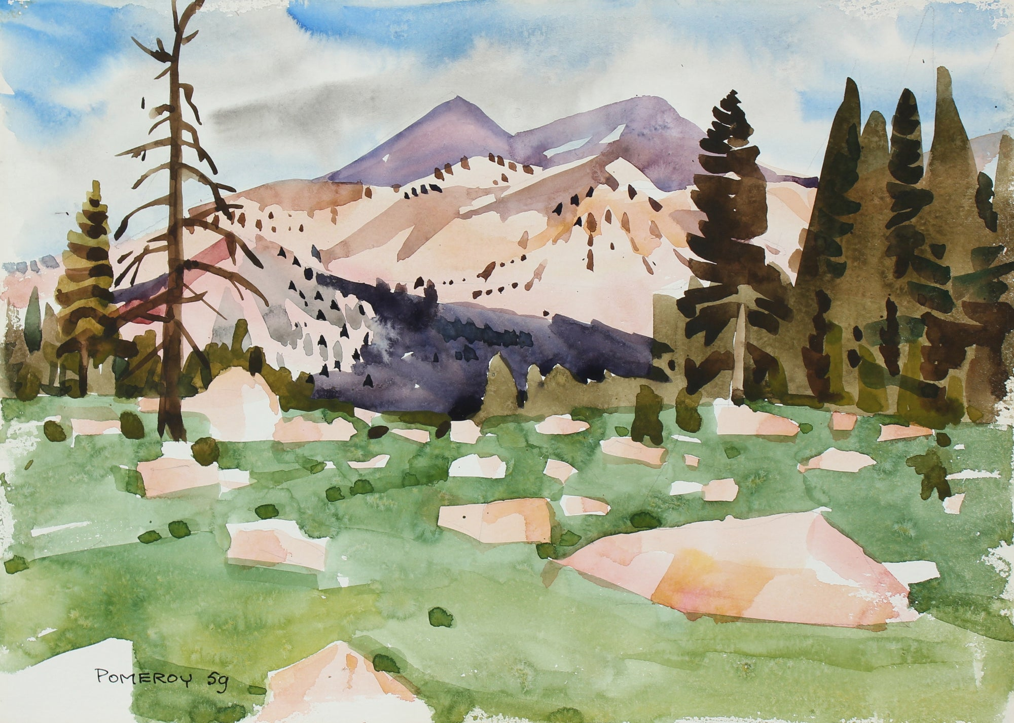 <i>High Sierra Meadows</i> <br>1959 Watercolor <br><br>#98635