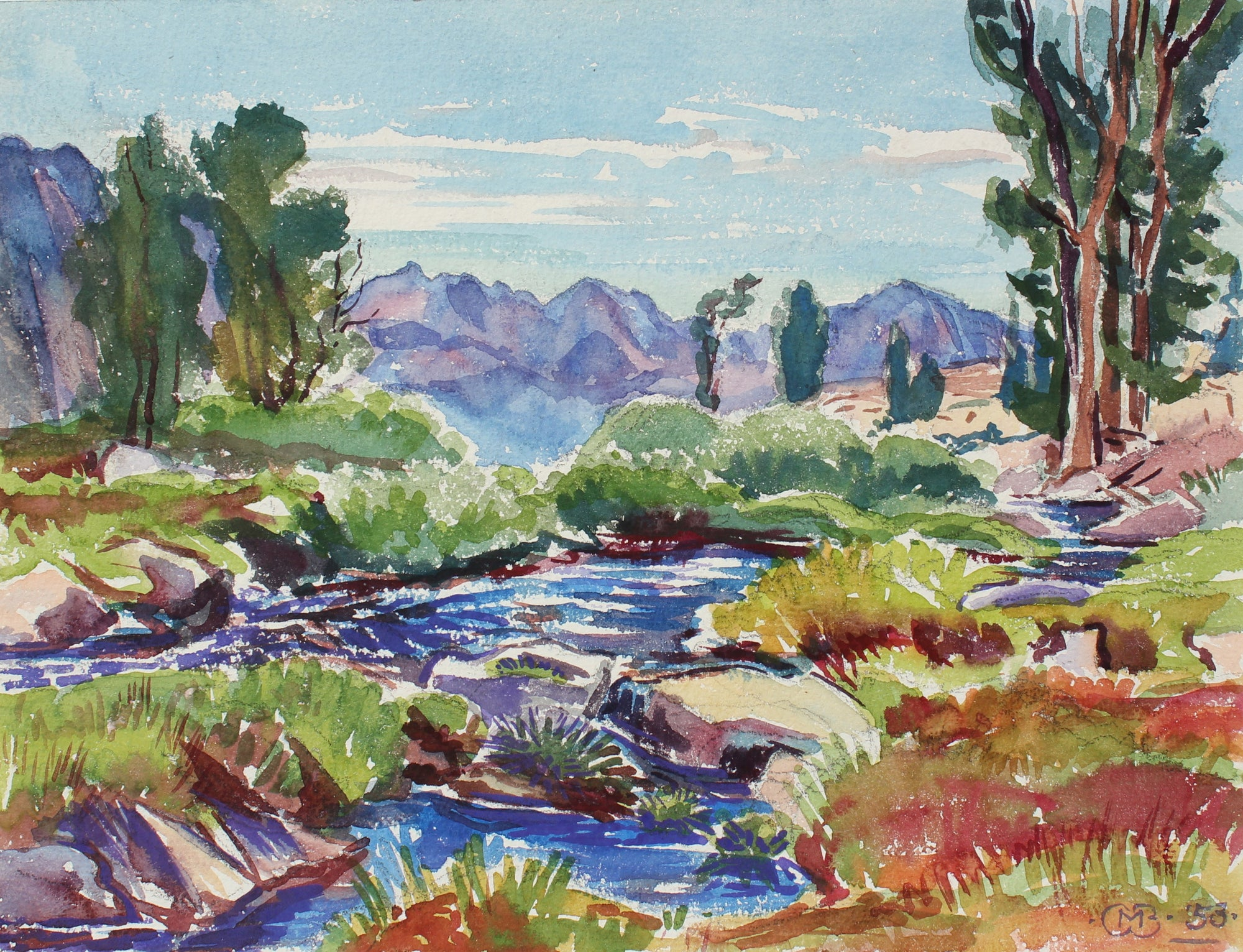 Idyllic Valley River Scene <br>1953 Watercolor <br><br>#98644
