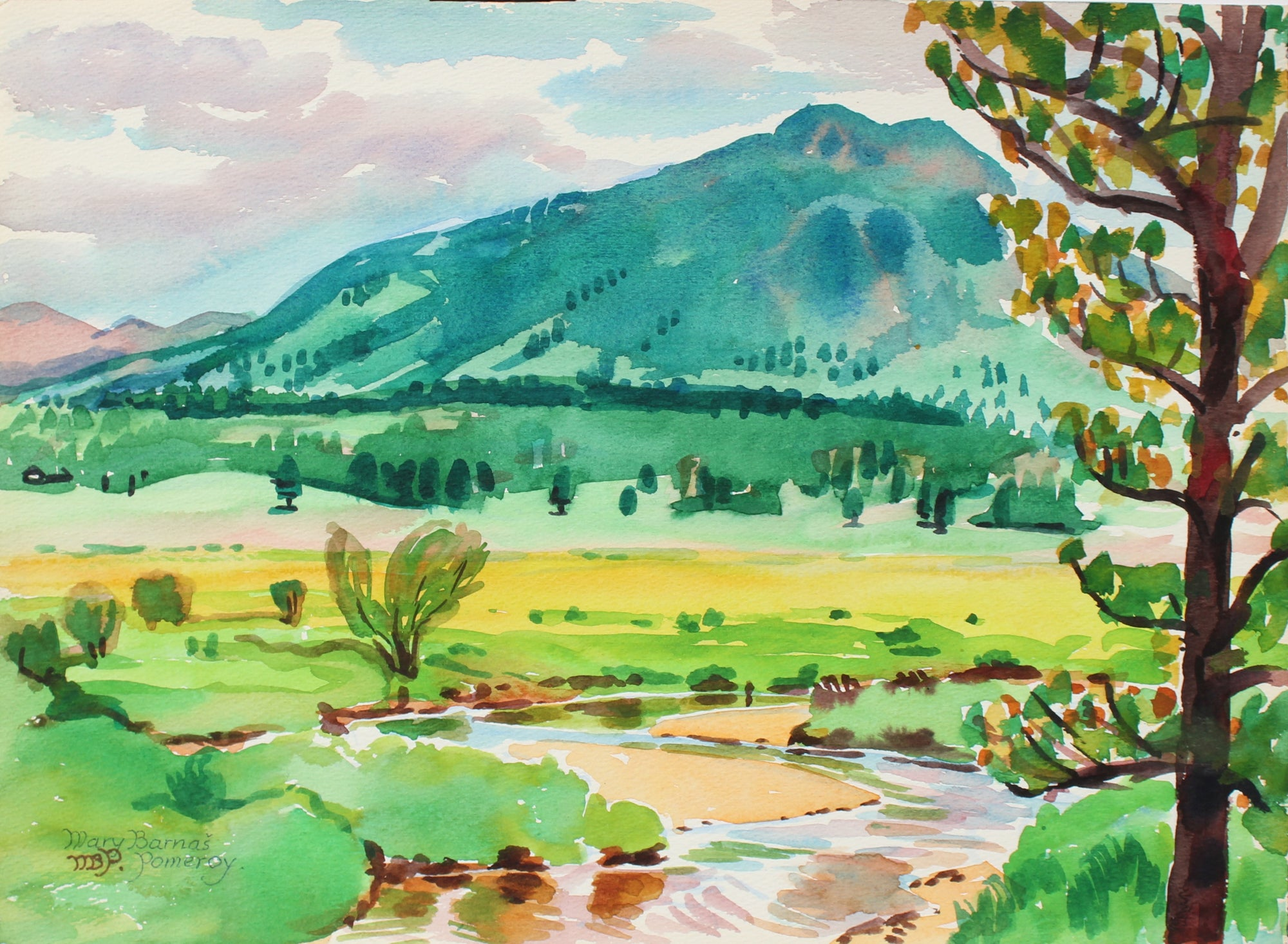 <i> View of Deer Mountain </i> <br> August 1971 Watercolor<br><br>#98647