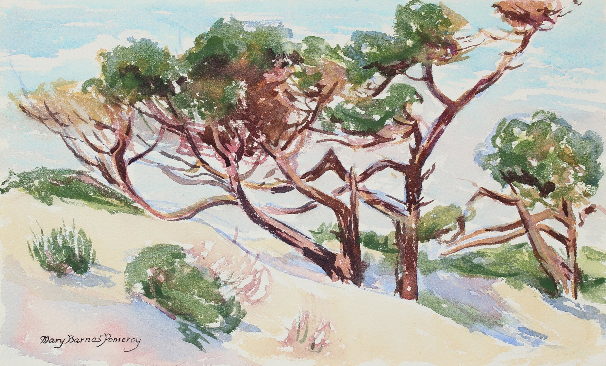 <i> Trees on a Hill </i> <br> Mid-Late 20th Century Watercolor<br><br>#98656