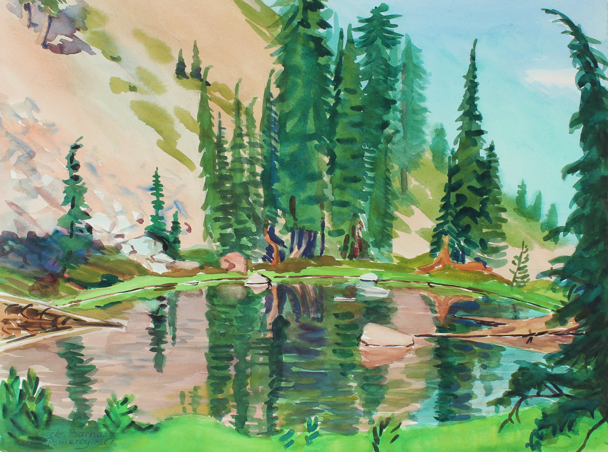 <i>Young Hemlocks Reflecting on Lake</i> <br> 1961 Watercolor<br><br>#98657