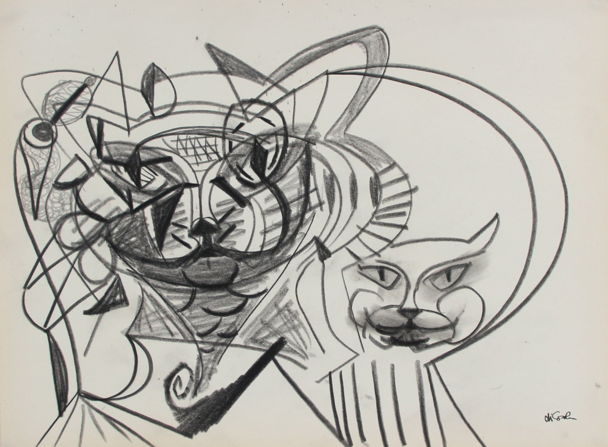 Surreal Abstracted Cat Faces <br>Late 20th Century Graphite <br><br>#98856