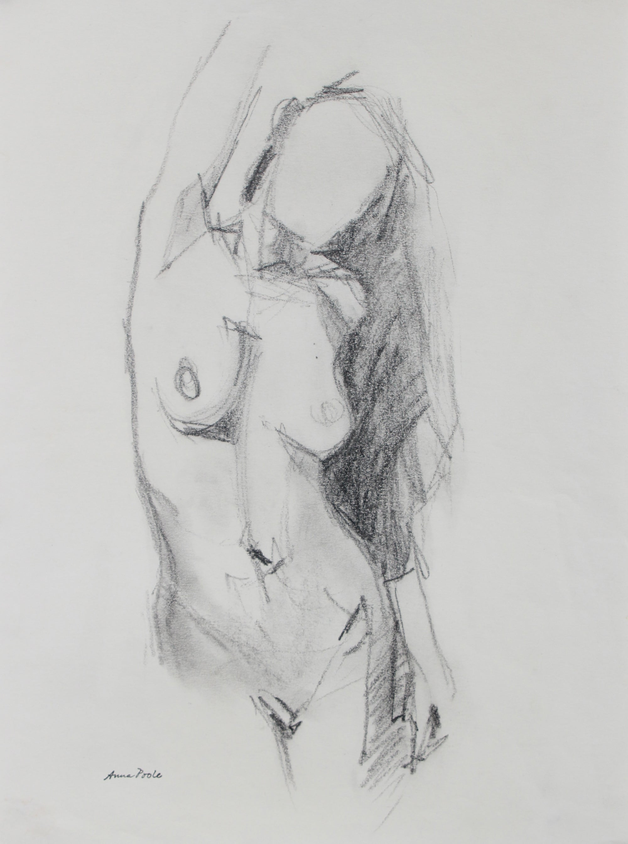 Nude Female Torso Sketch<br>Late 20th Century Graphite<br><br>#98941