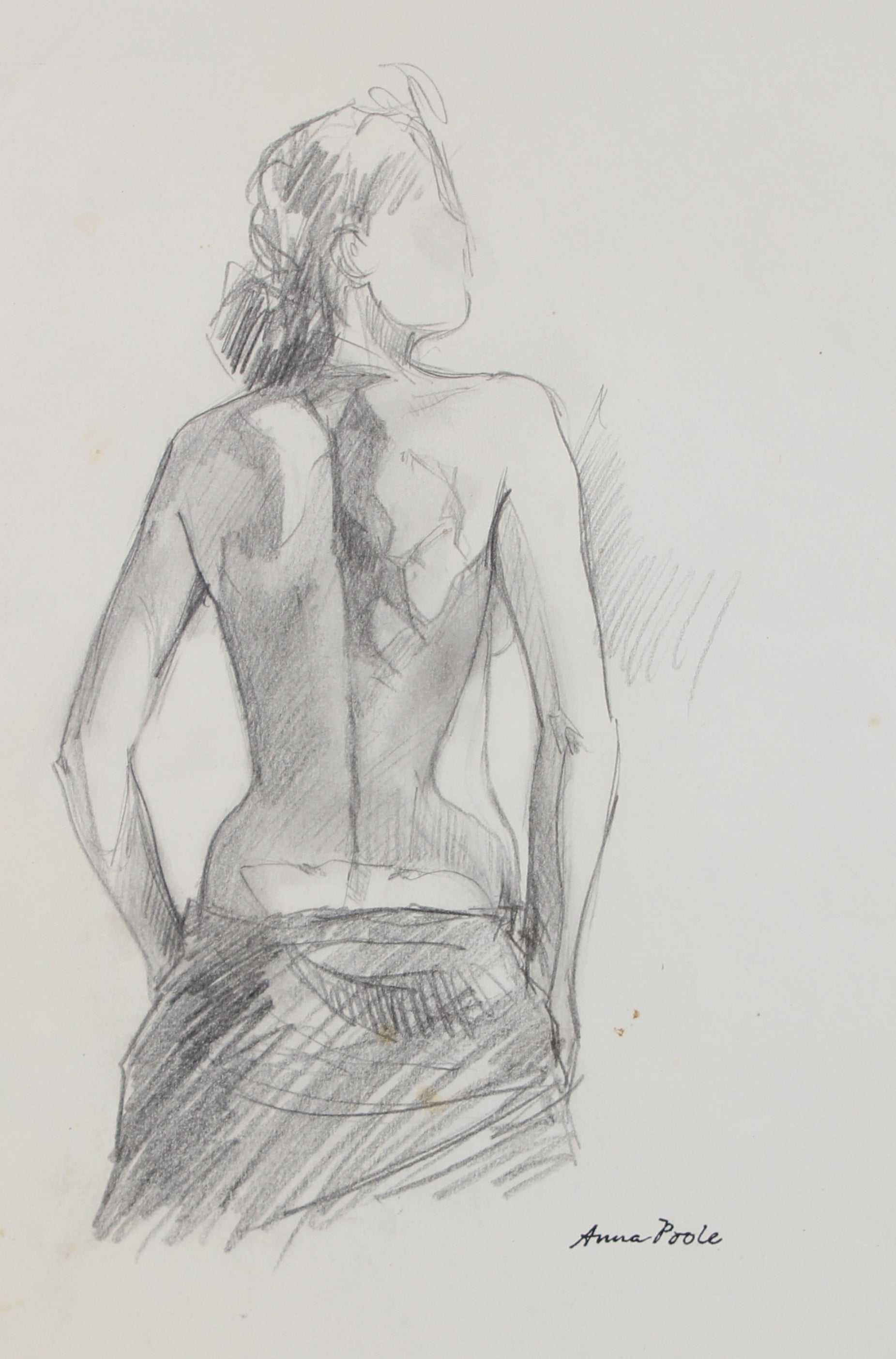 Female Figure From Behind<br>Late 20th Century Graphite<br><br>#98945