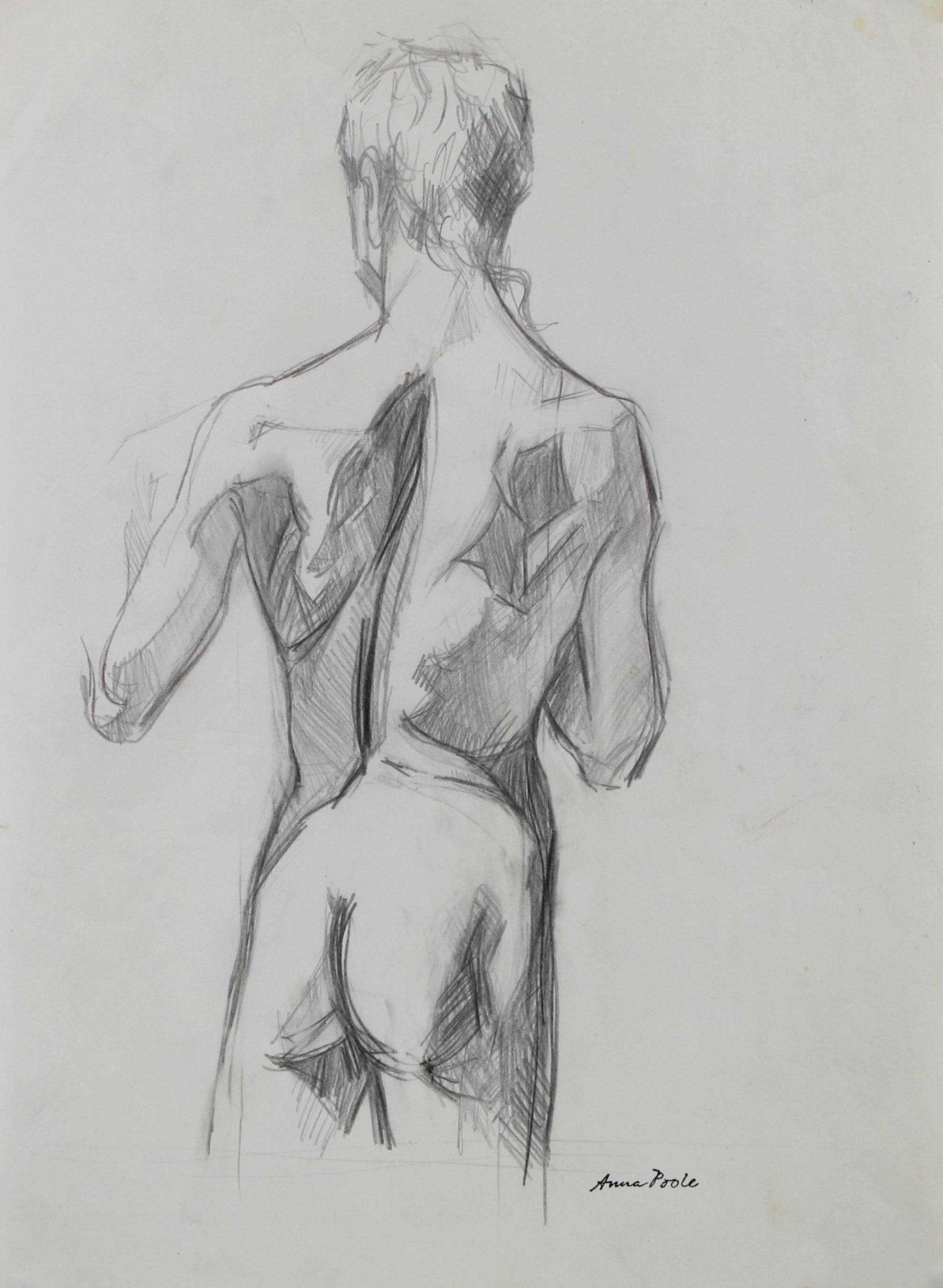 Torso Study - Male<br>Late 20th Century Graphite<br><br>#98950