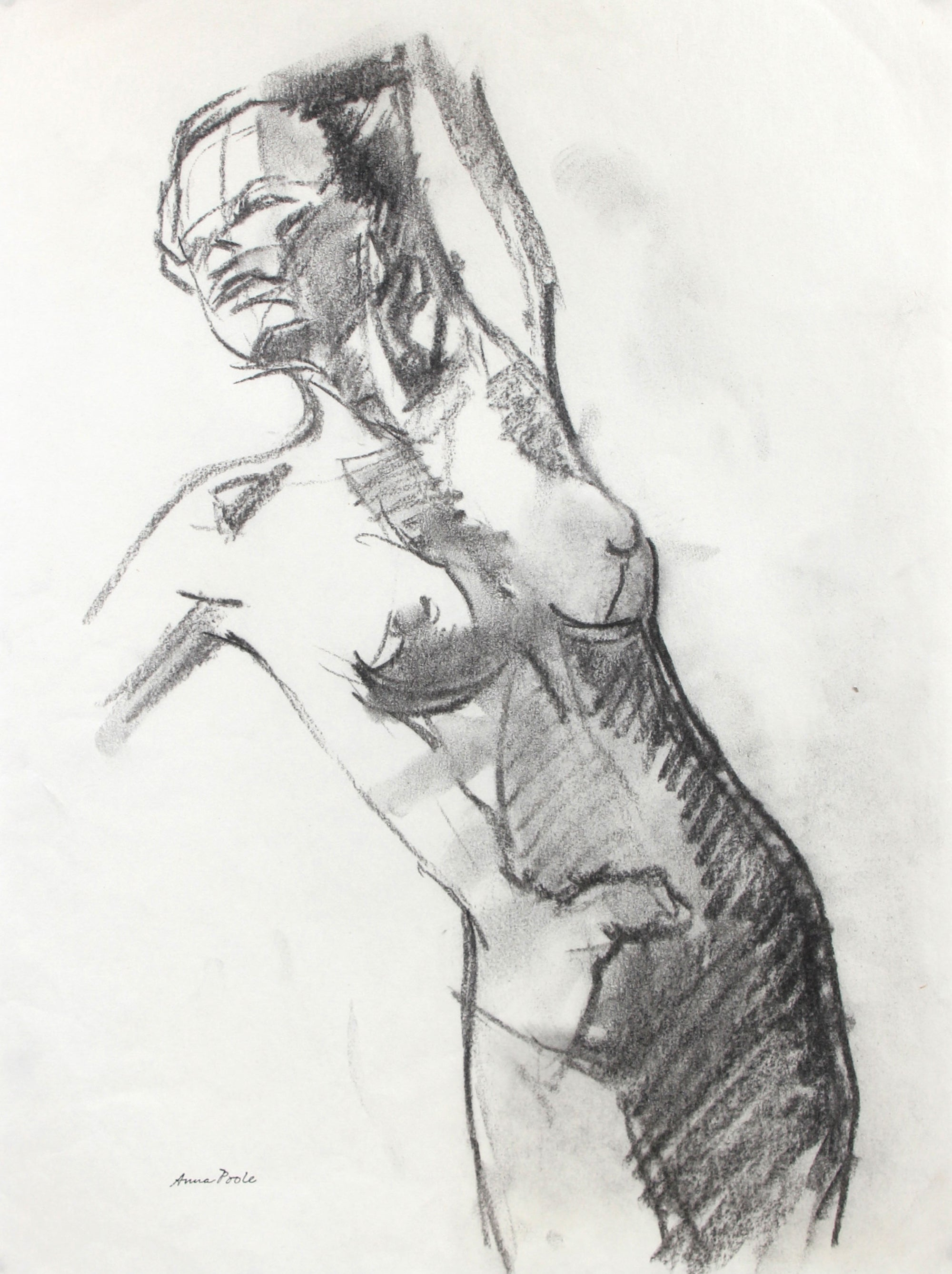 Female Nude Figure Study <br>Late 20th Century Charcoal <br><br>#98959