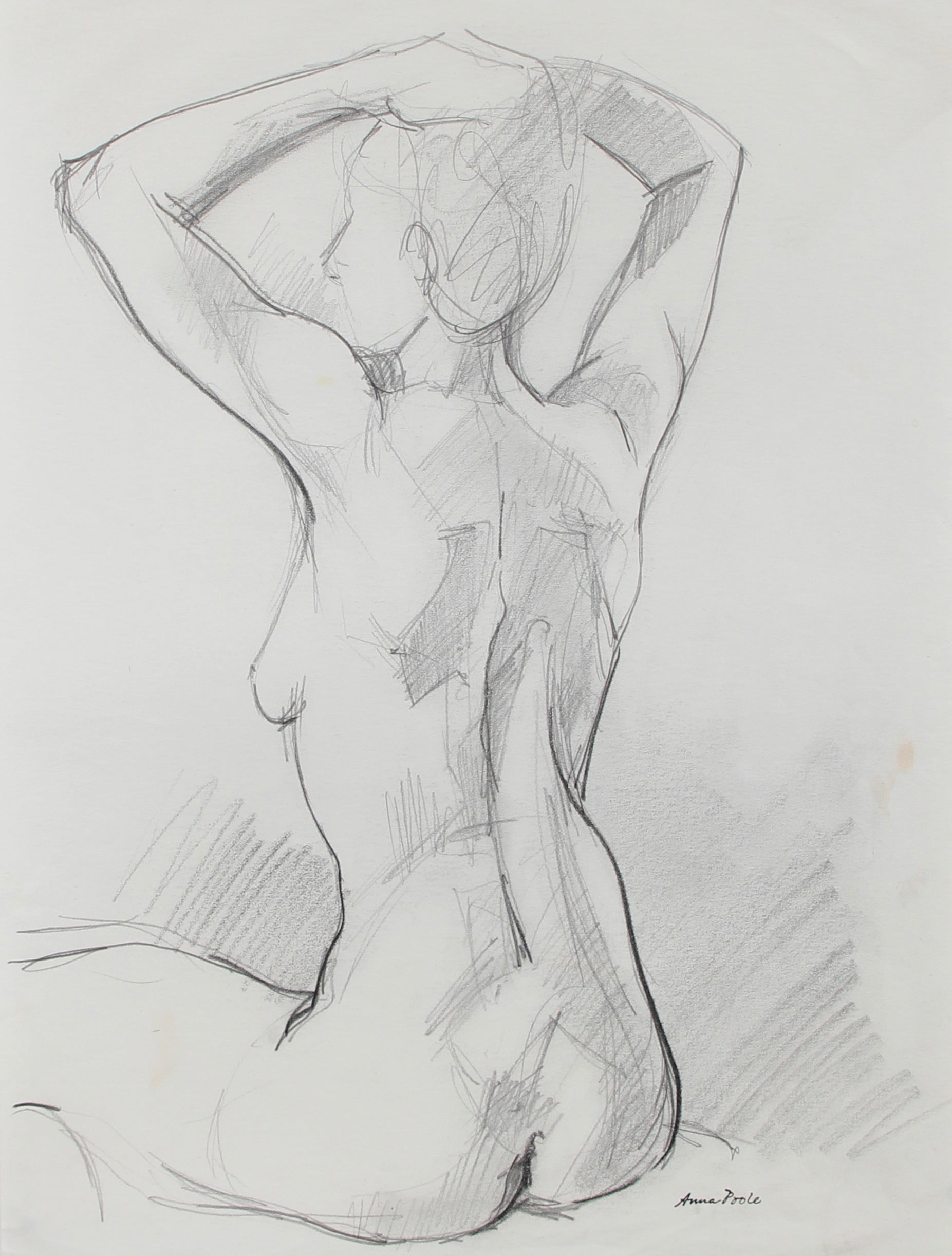 Seated Female Nude Figure Study <br>Late 20th Century Graphite <br><br>#98963