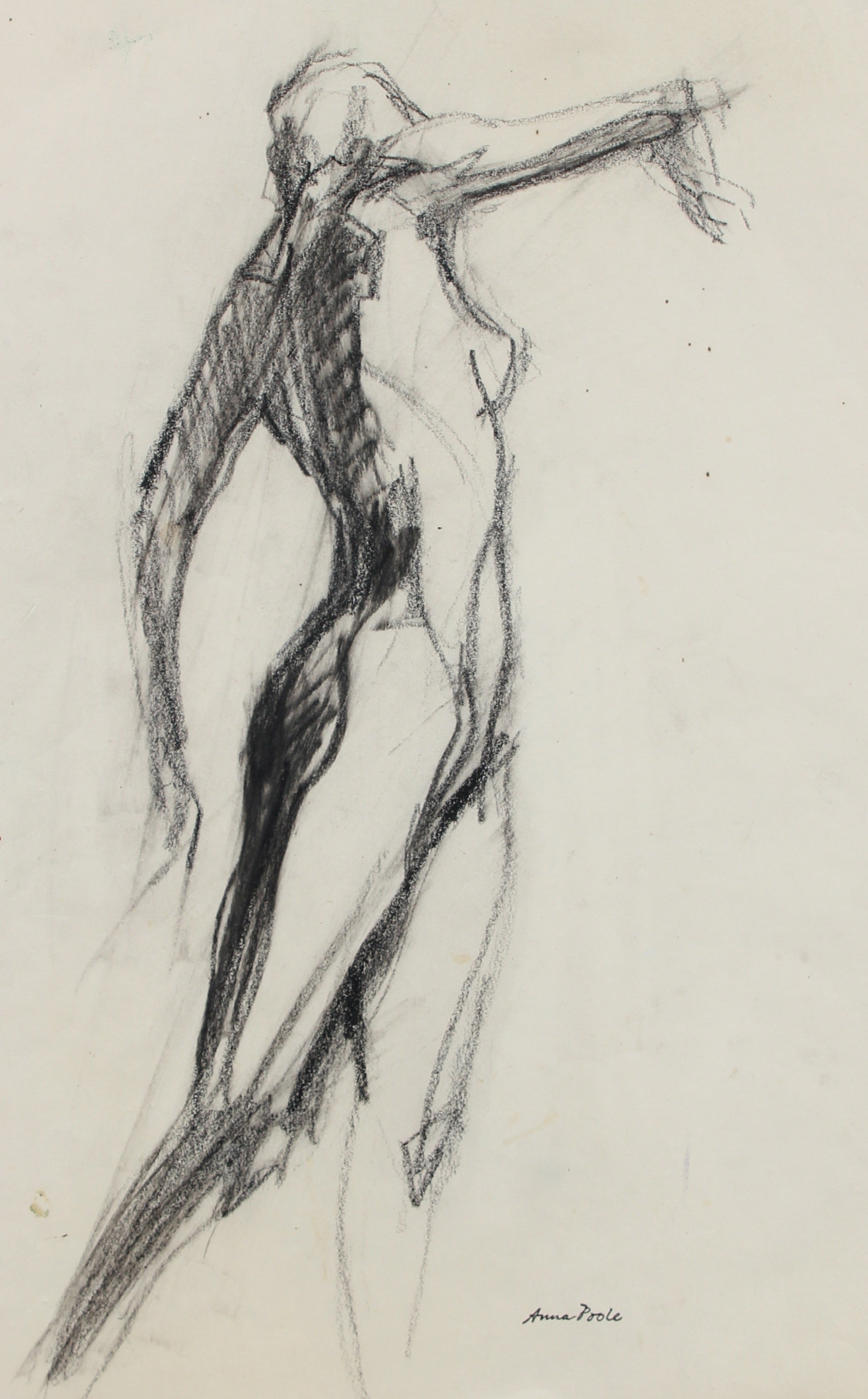 Nude Figure Study <br>Late 20th Century Charcoal <br><br>#98971