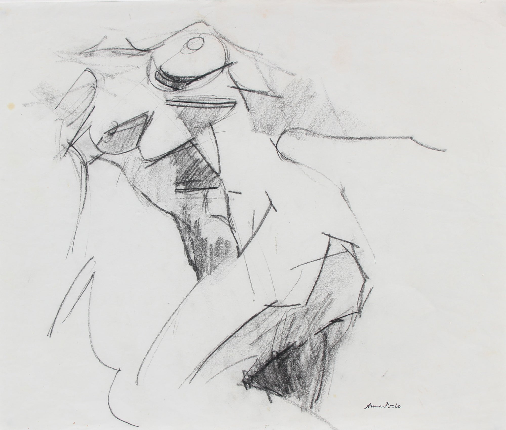 Nude Torso Figure Study <br>Late 20th Century Charcoal <br><br>#98972