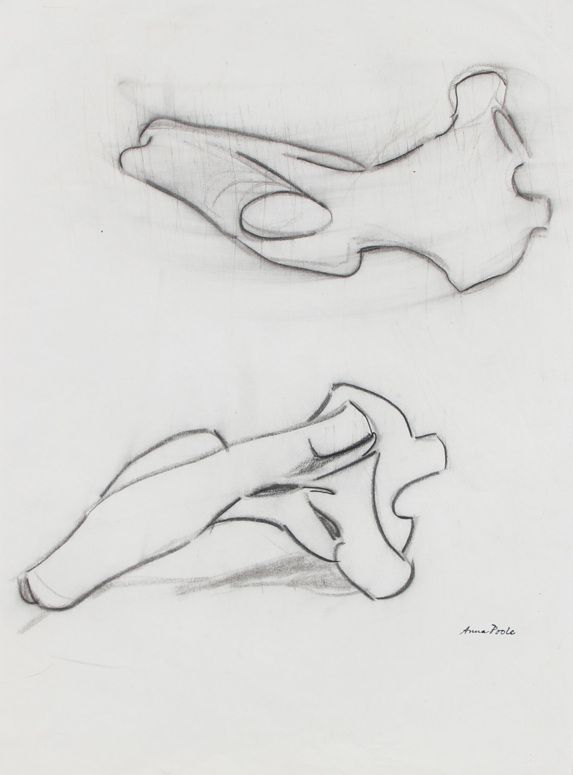 Abstracted Figure Study <br>Late 20th Century Charcoal <br><br>98978